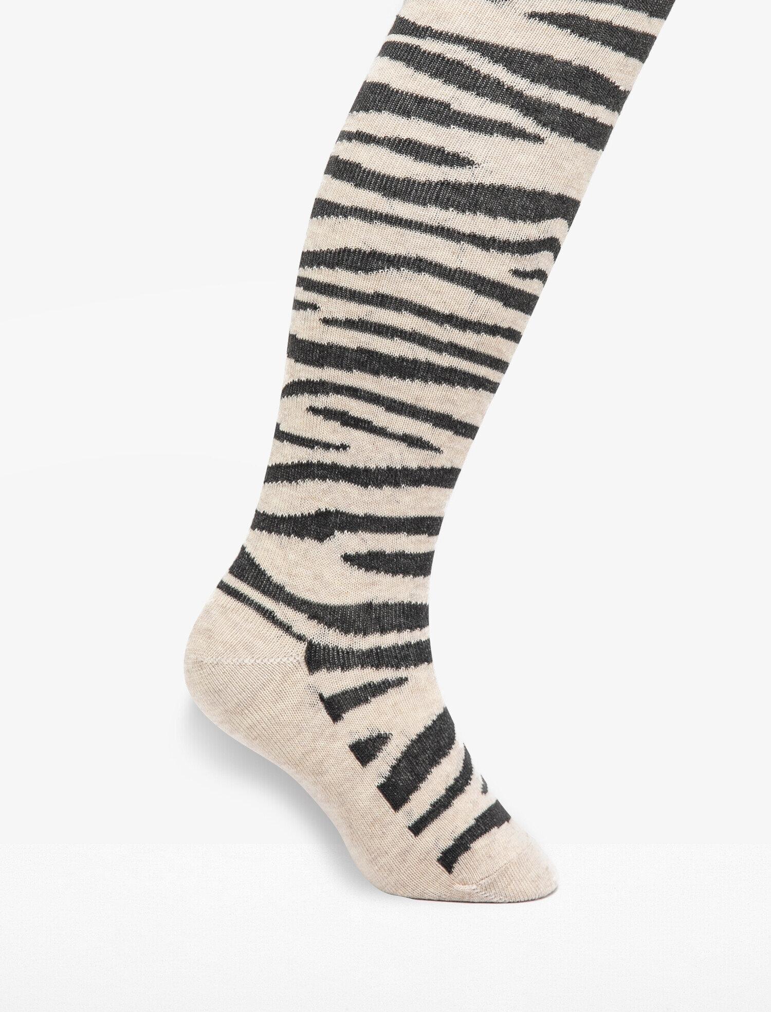 Zebra Desenli Külotlu Çorap