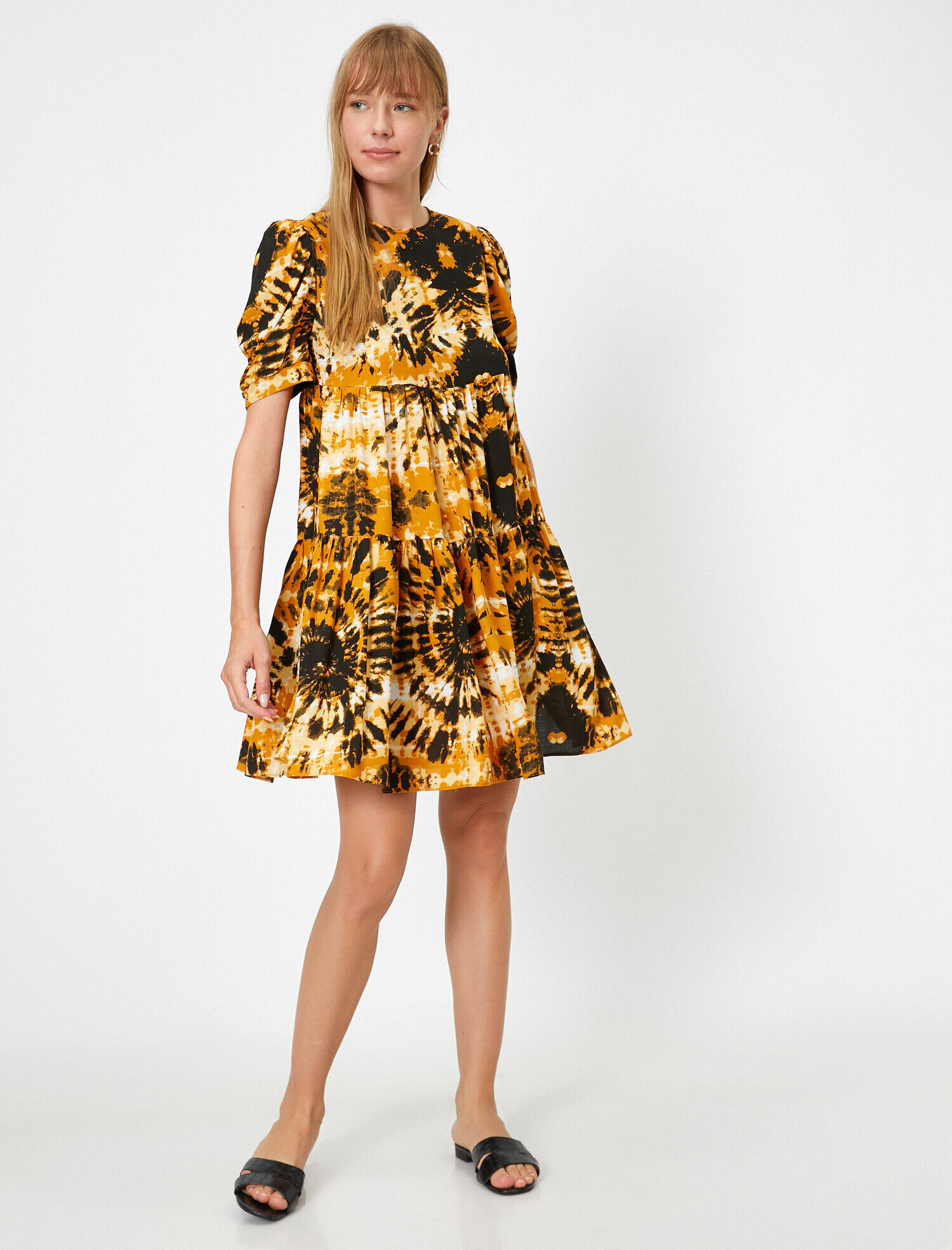 Hardal Bayan Batik Desenli Katli Elbise 0yaf80280fw02d Koton