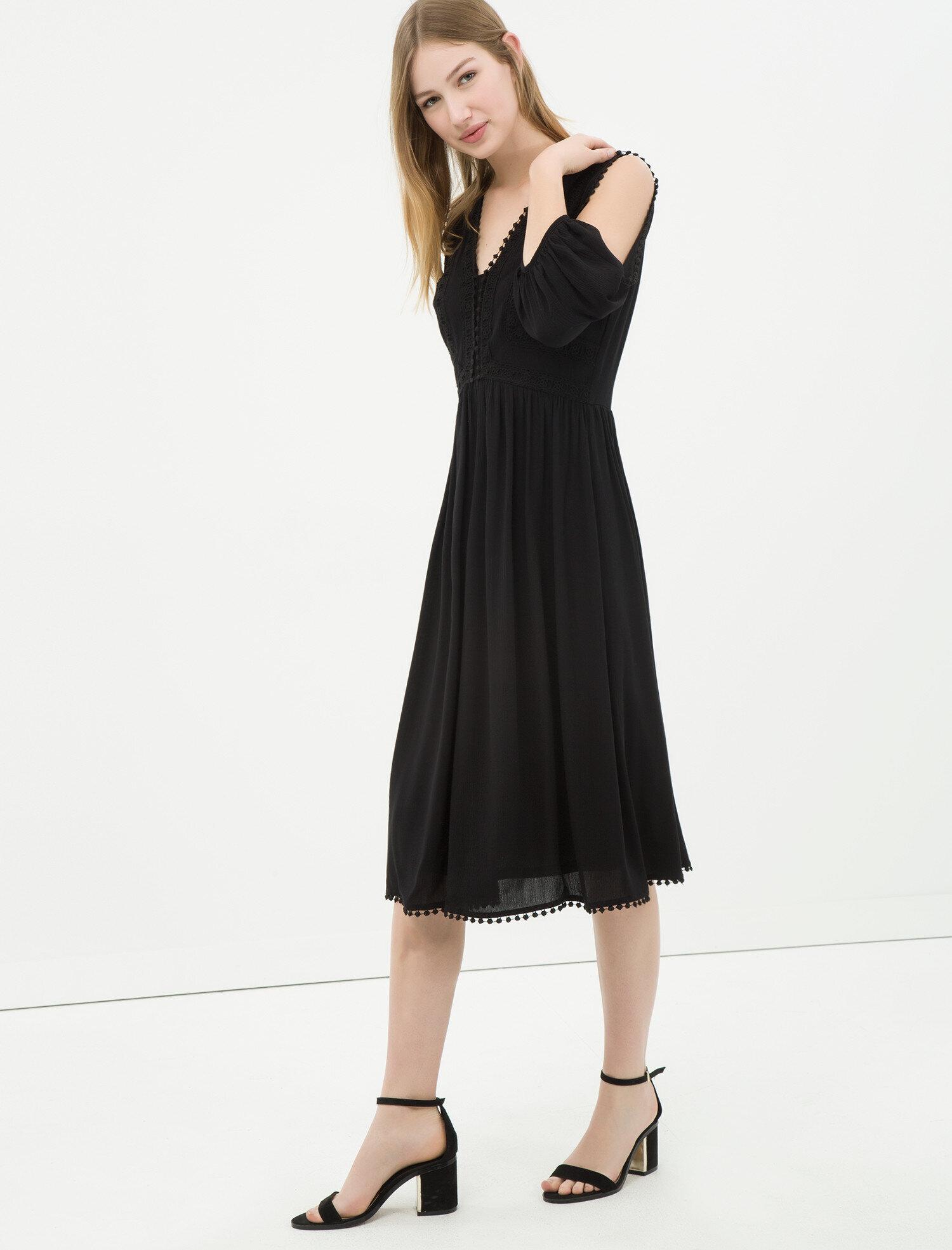 78cadb4fd44fc Siyah Bayan Omuz Detaylı Elbise 6YAK88848PW999 | Koton