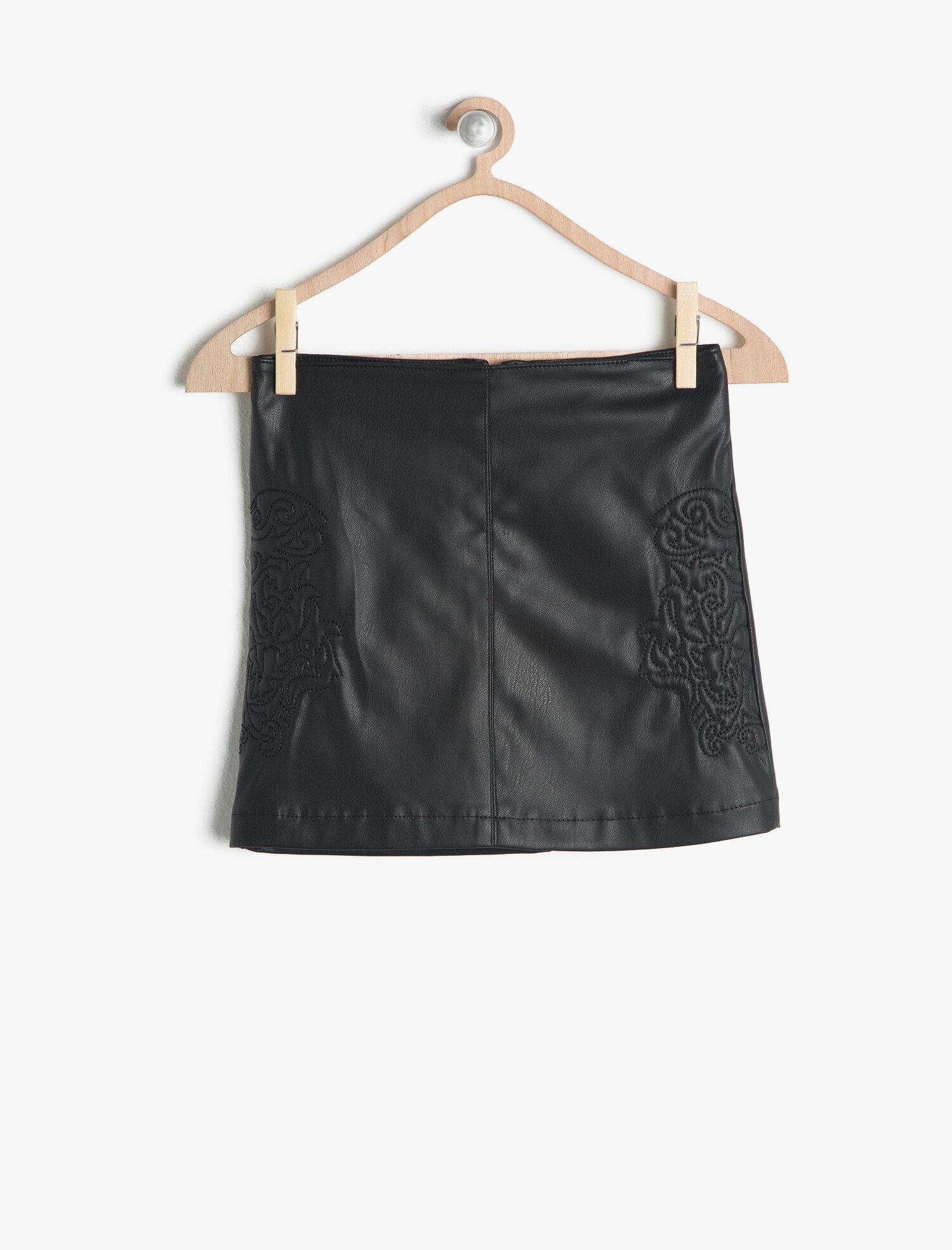 62ee1ffcad Black Girls Leather Look Skirt 7KKG77261GK9994-5 | Koton