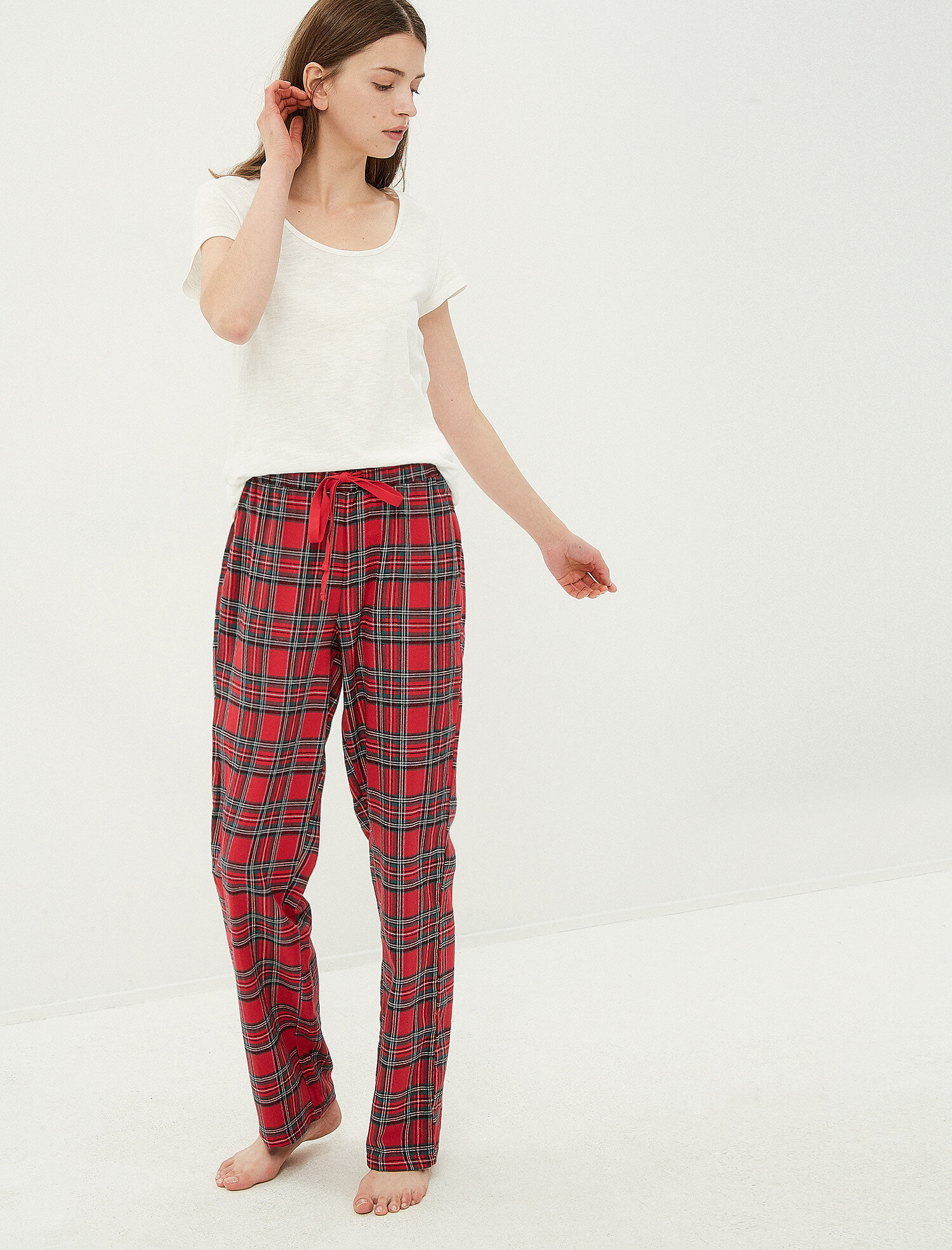 2855d0daa1d92 Kırmızı Bayan Kareli Pijama Altı 7KLK71823MW12U   Koton