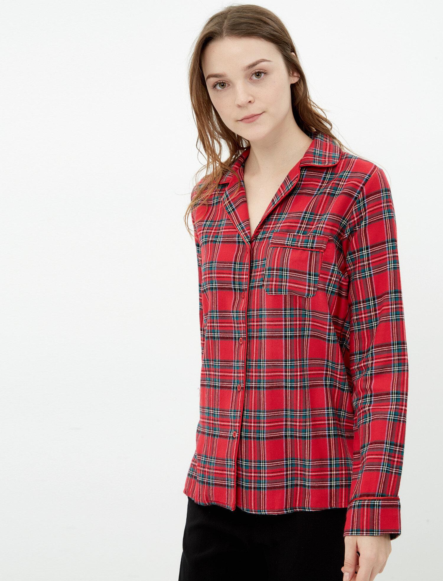 1b8aab96ab31f Kırmızı Bayan Kareli Pijama 7KLK73821OW12U   Koton