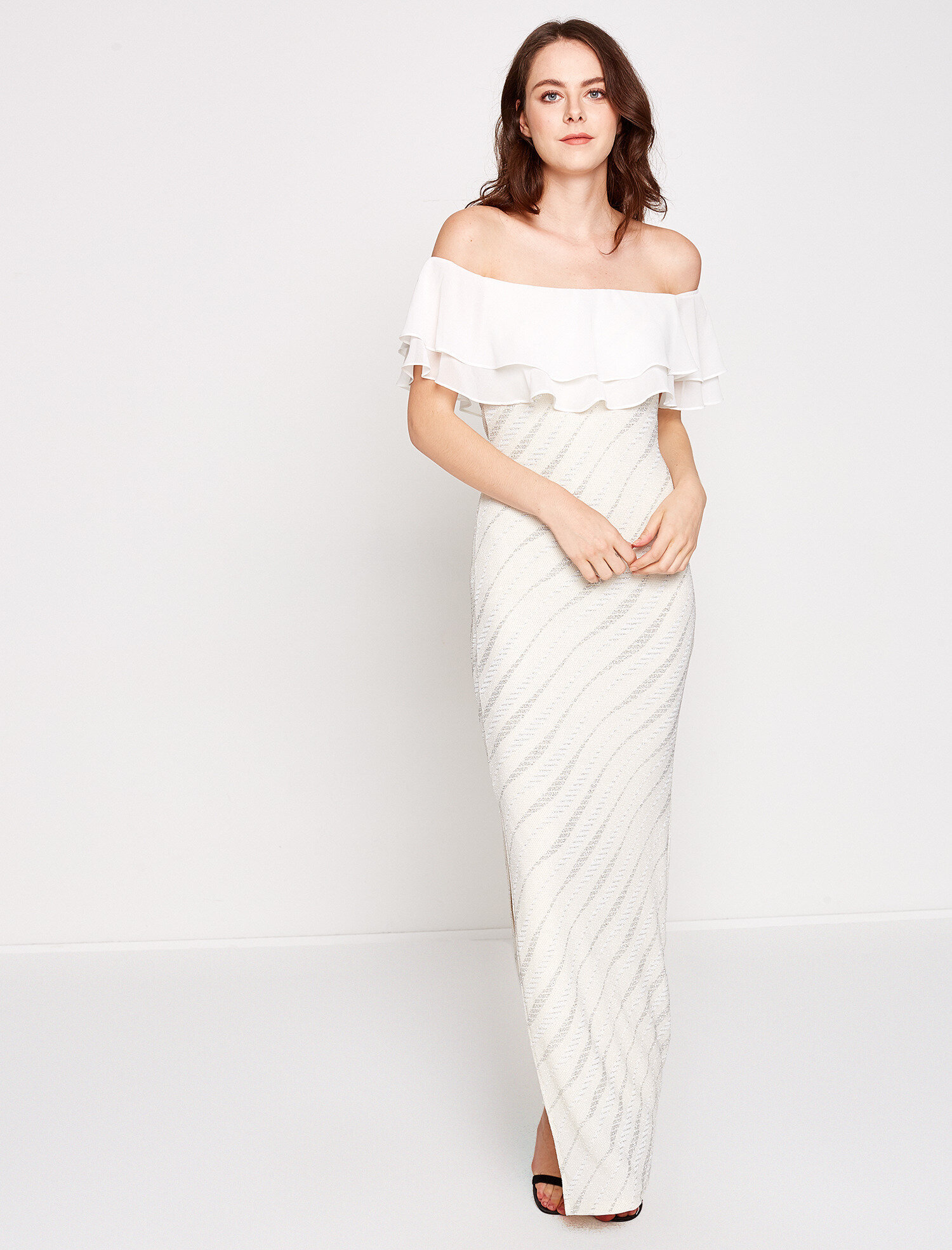 280a897d1c67f Beyaz Bayan Omuz Detaylı Elbise 7YAK84063FK000 | Koton