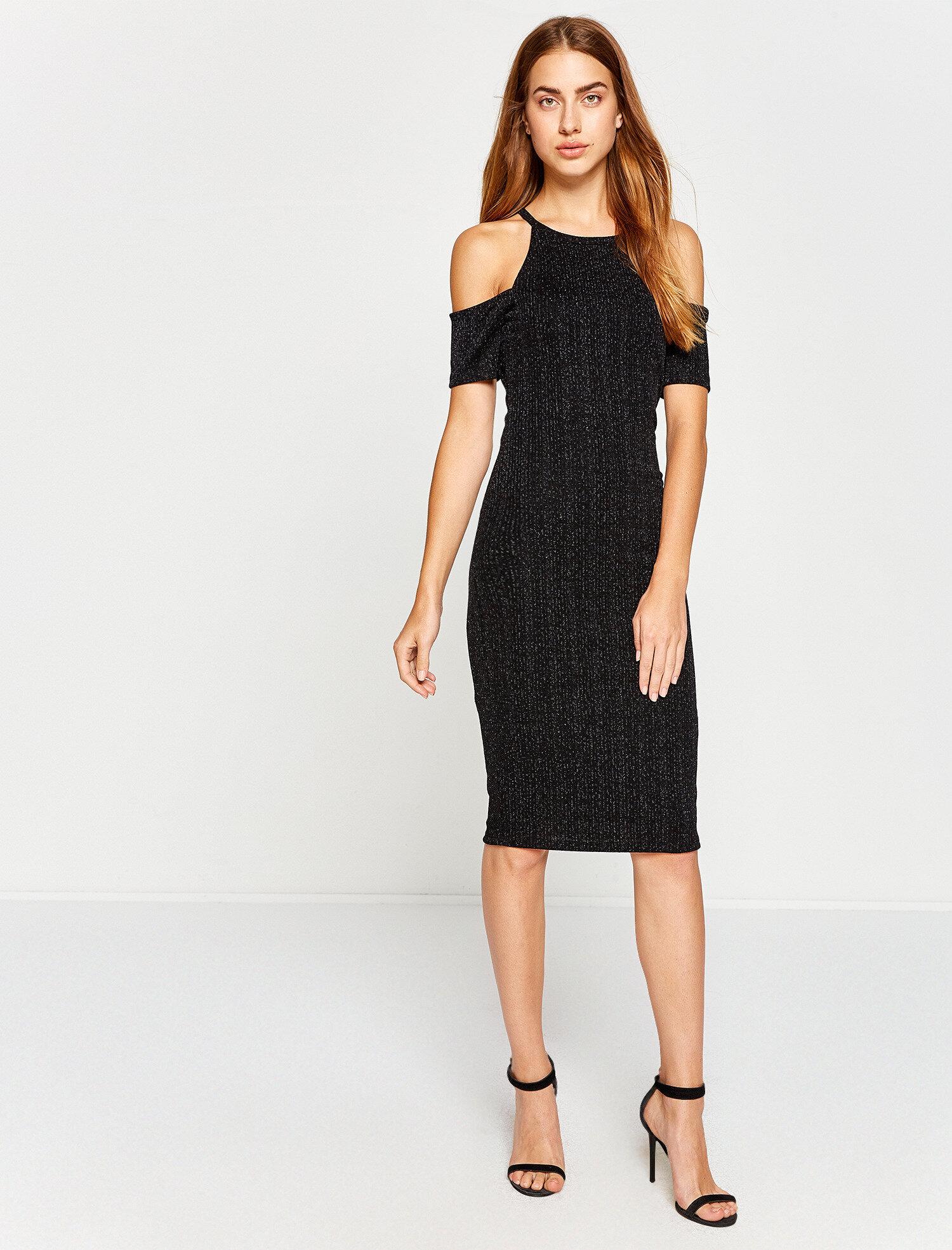 39d3ccfb1e2f8 Siyah Bayan Omuz Detaylı Elbise 7YAK84964FK999 | Koton