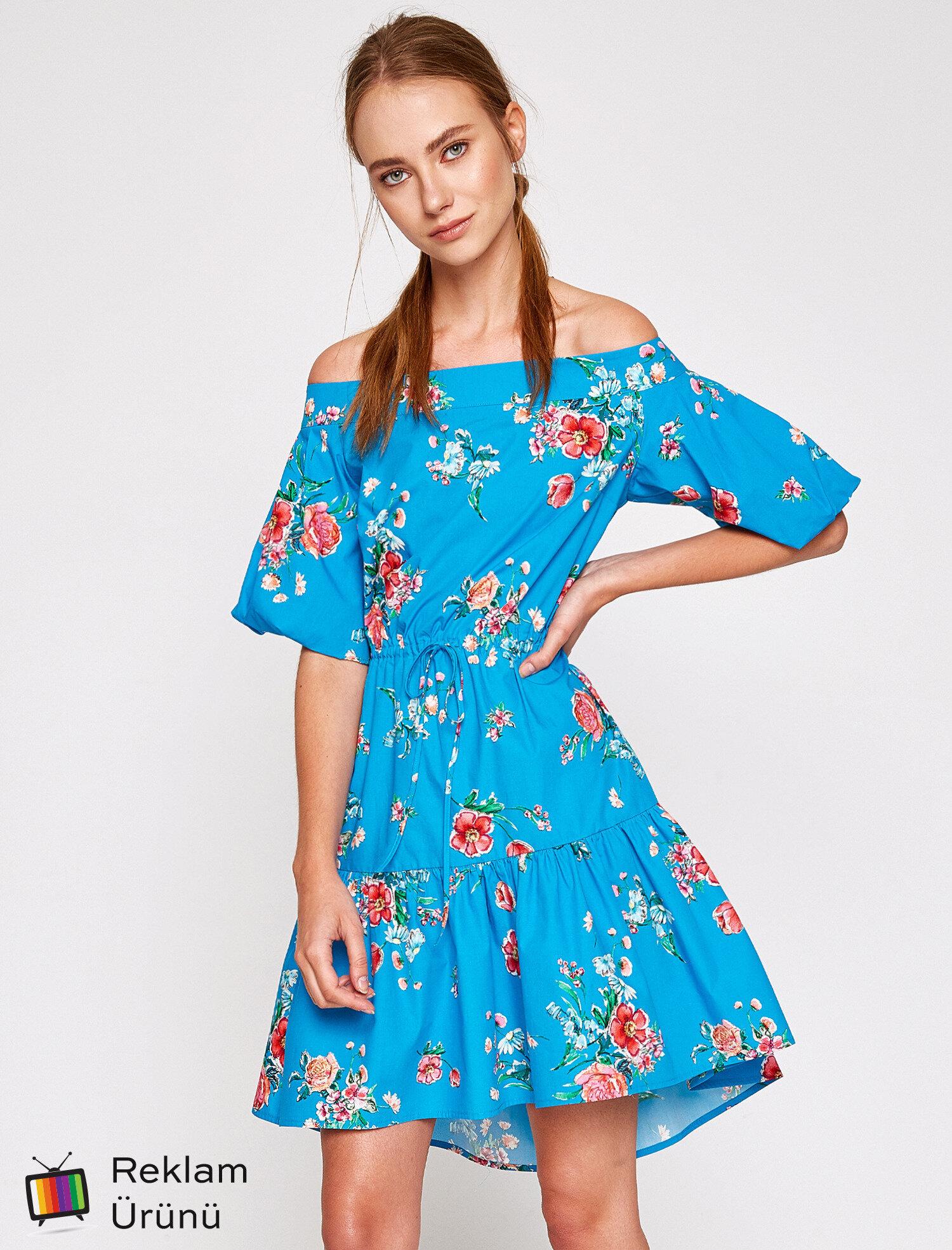 ef8f31a2cfa98 Mavi Bayan Çiçekli Elbise 7YAK88150PW03V | Koton