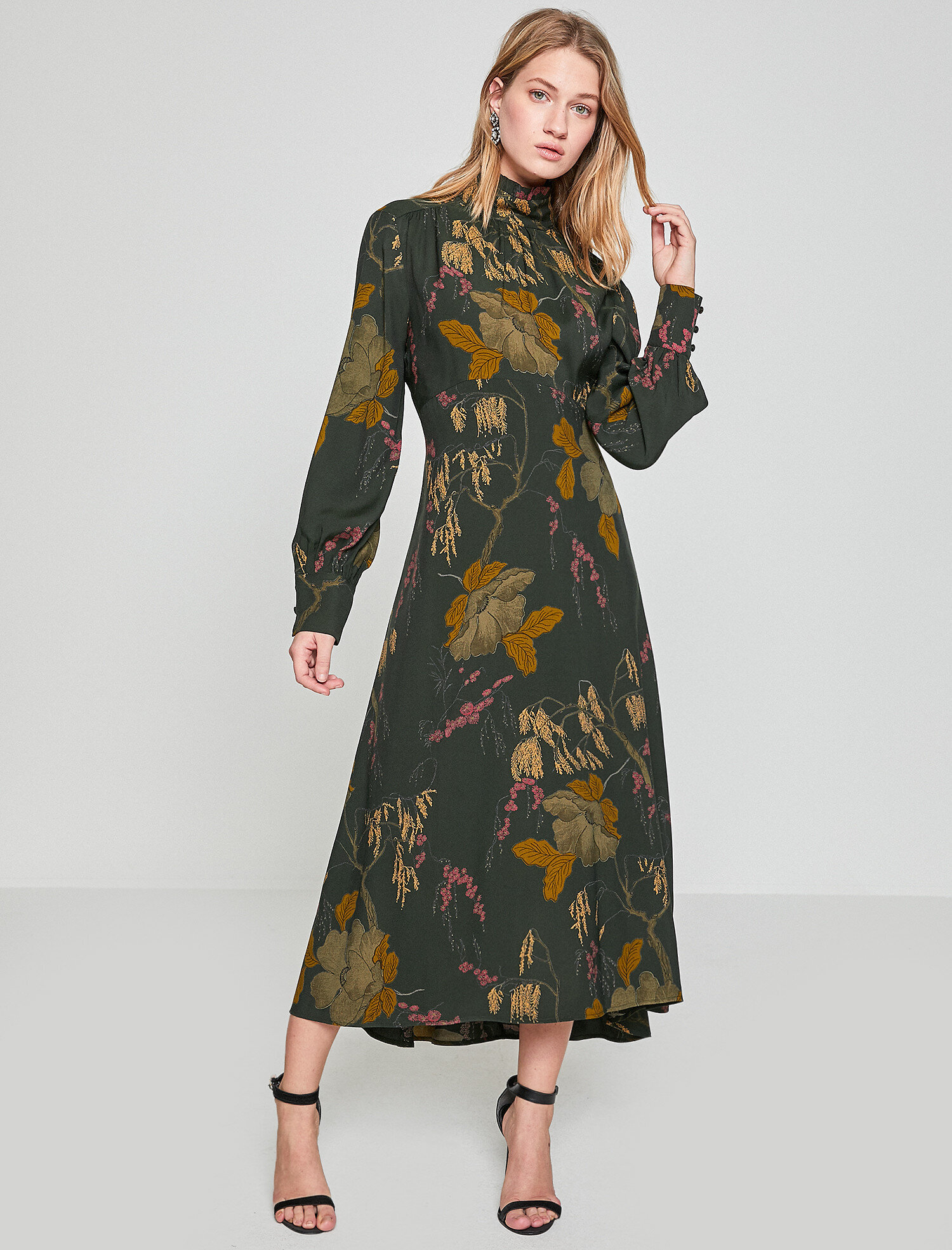 6bfbcfeb985cb Yeşil Bayan Desenli Elbise 8KAF80323OWE30 | Koton