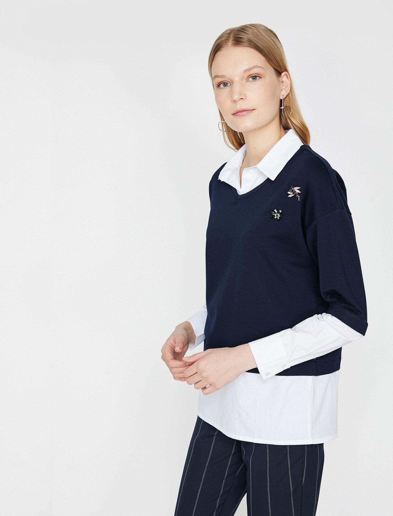 77915b01f474a Lacivert Bayan Taş Detaylı Sweatshirt 8KAK13496EKNA1 | Koton