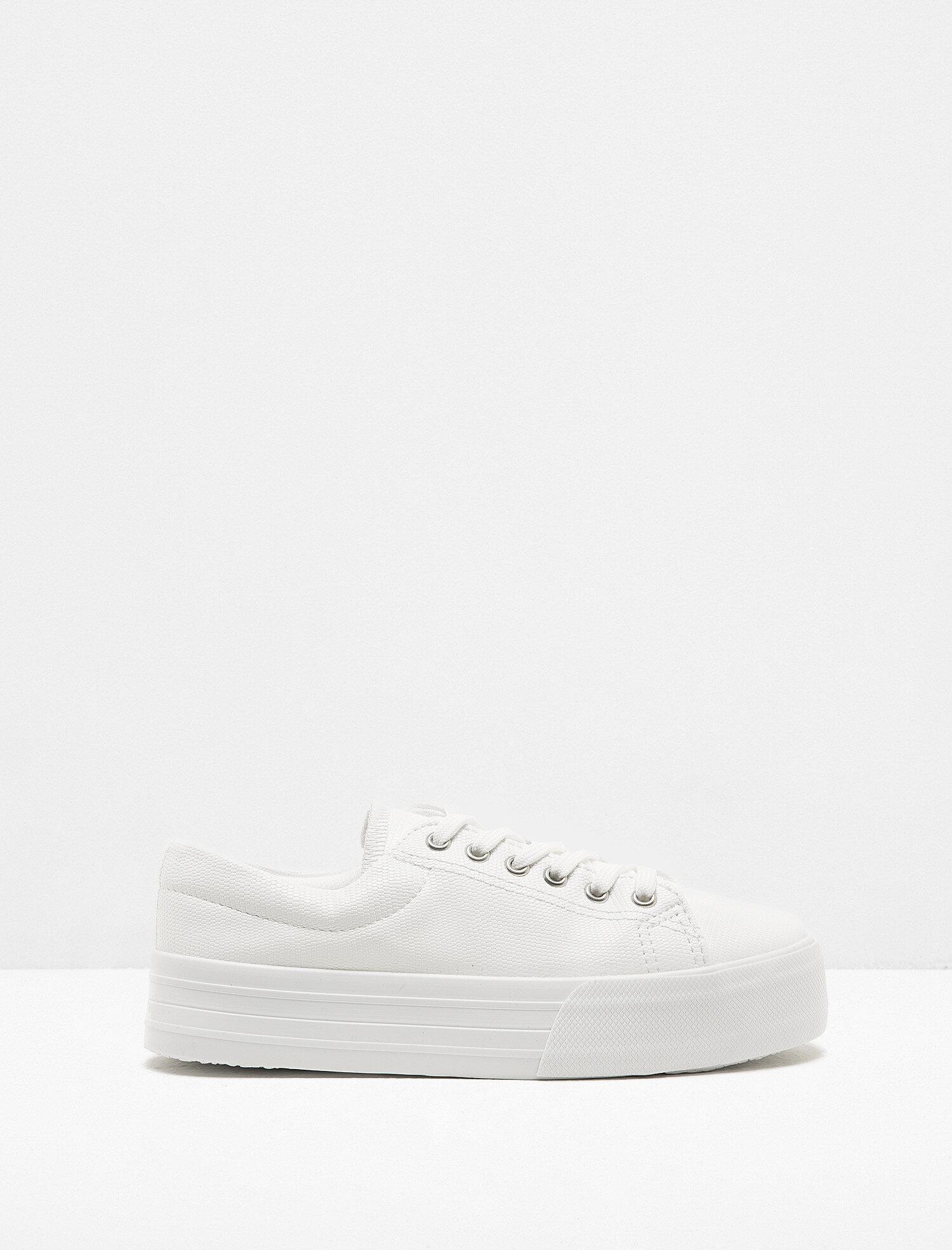 74a3551620e5b Beyaz Bayan Bağcıklı Spor Ayakkabı 8KAK20105AA000 | Koton
