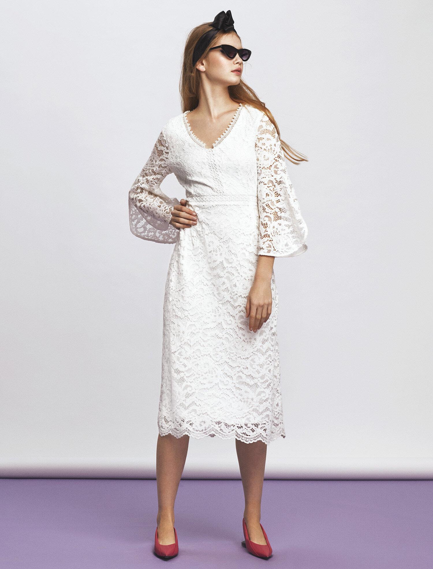 a6c21715d5a93 Beyaz Bayan Dantel Elbise 8YAK83264EK001 | Koton