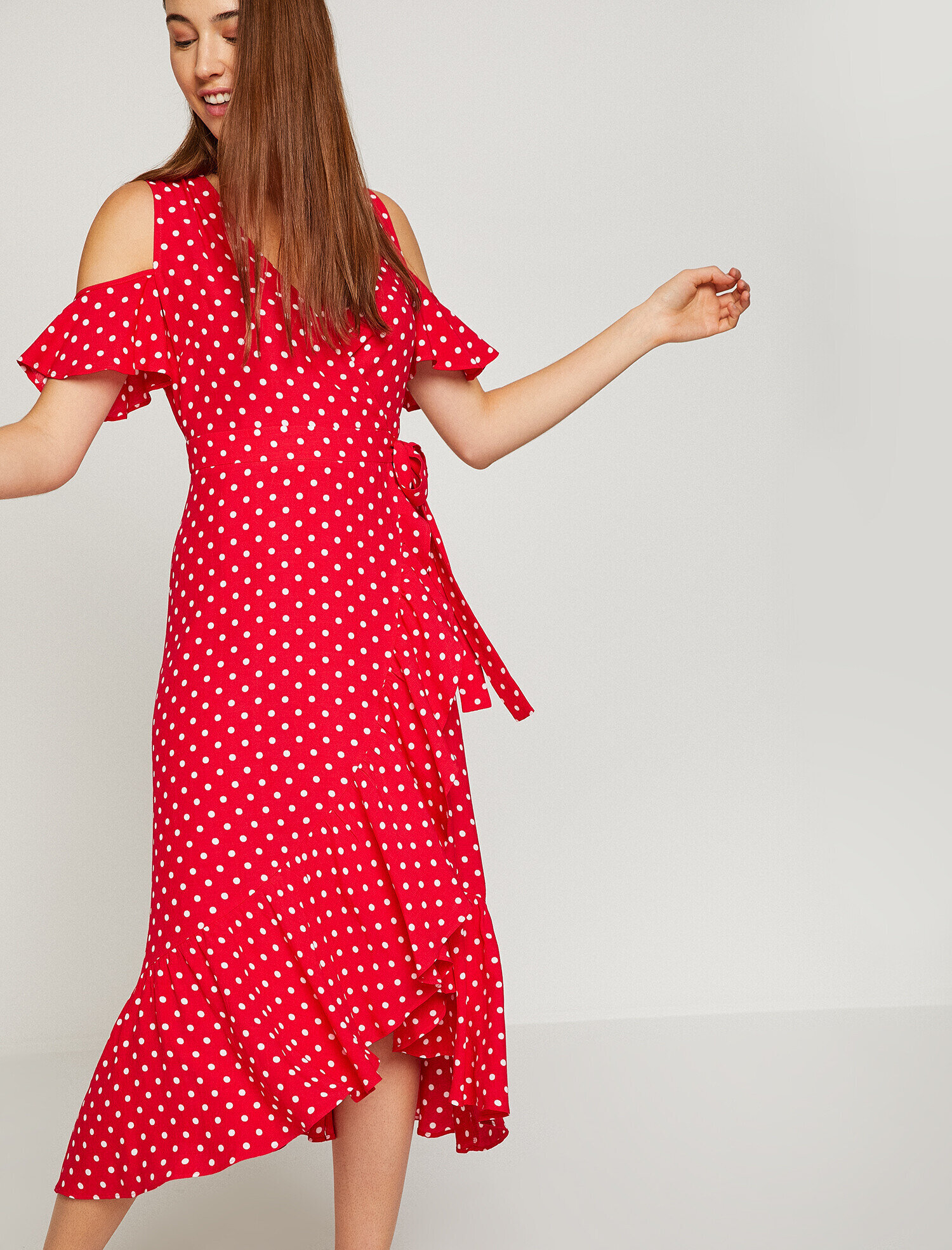 Kirmizi Bayan Puantiye Detayli Elbise 8yak88755pw01d Koton