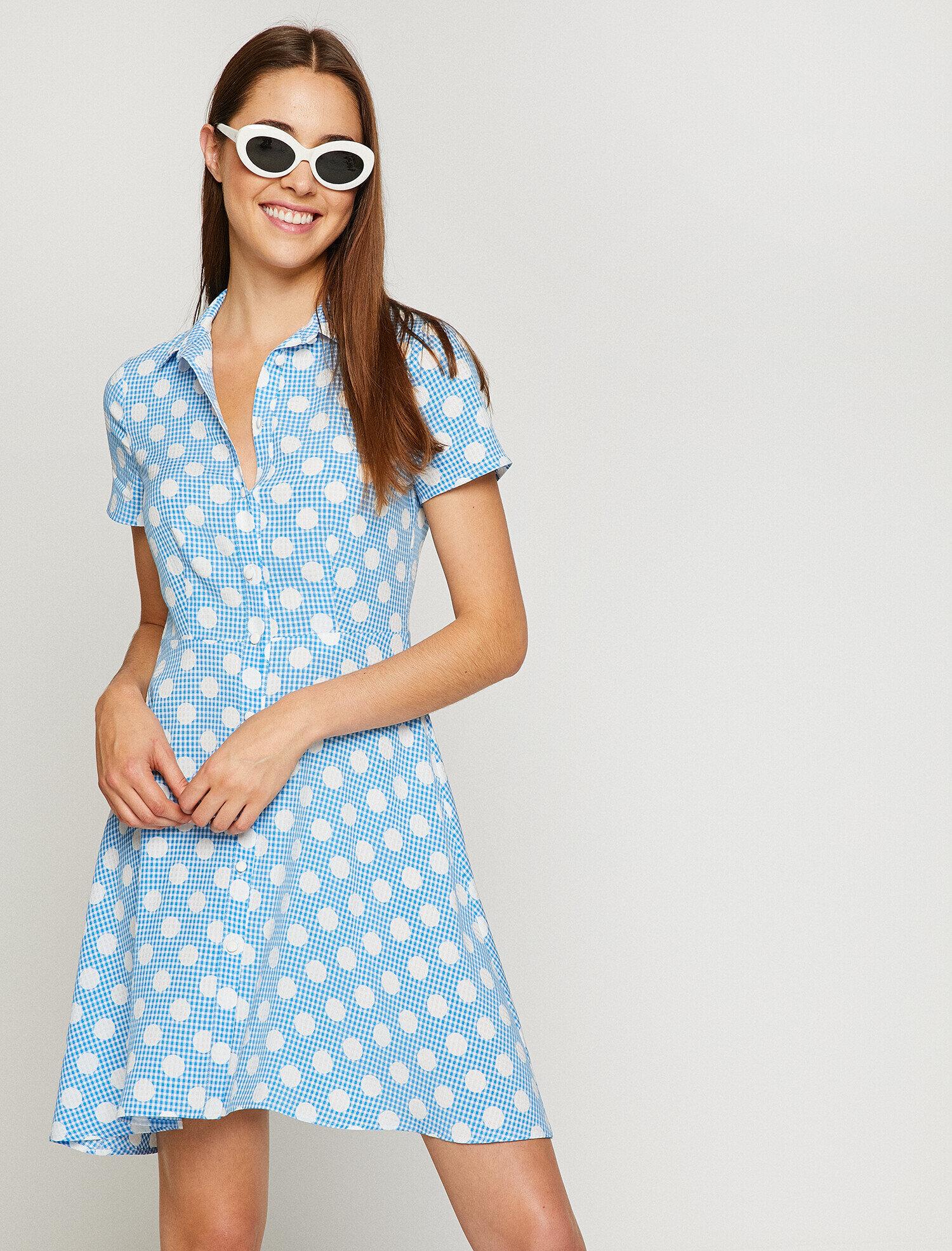 90fe24d79dc0c Mavi Bayan Puantiye Detaylı Elbise 8YAK88799PW83A | Koton