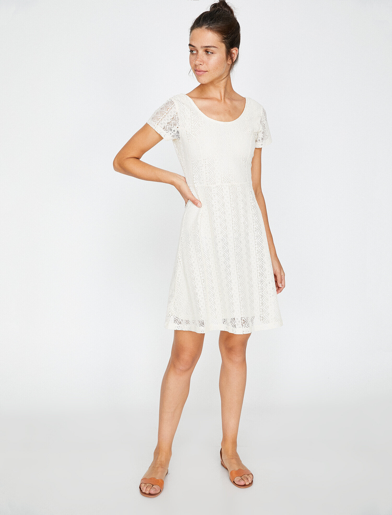 9719a37c14 White Women Lace Detailed Dress 8YAL81061JK001
