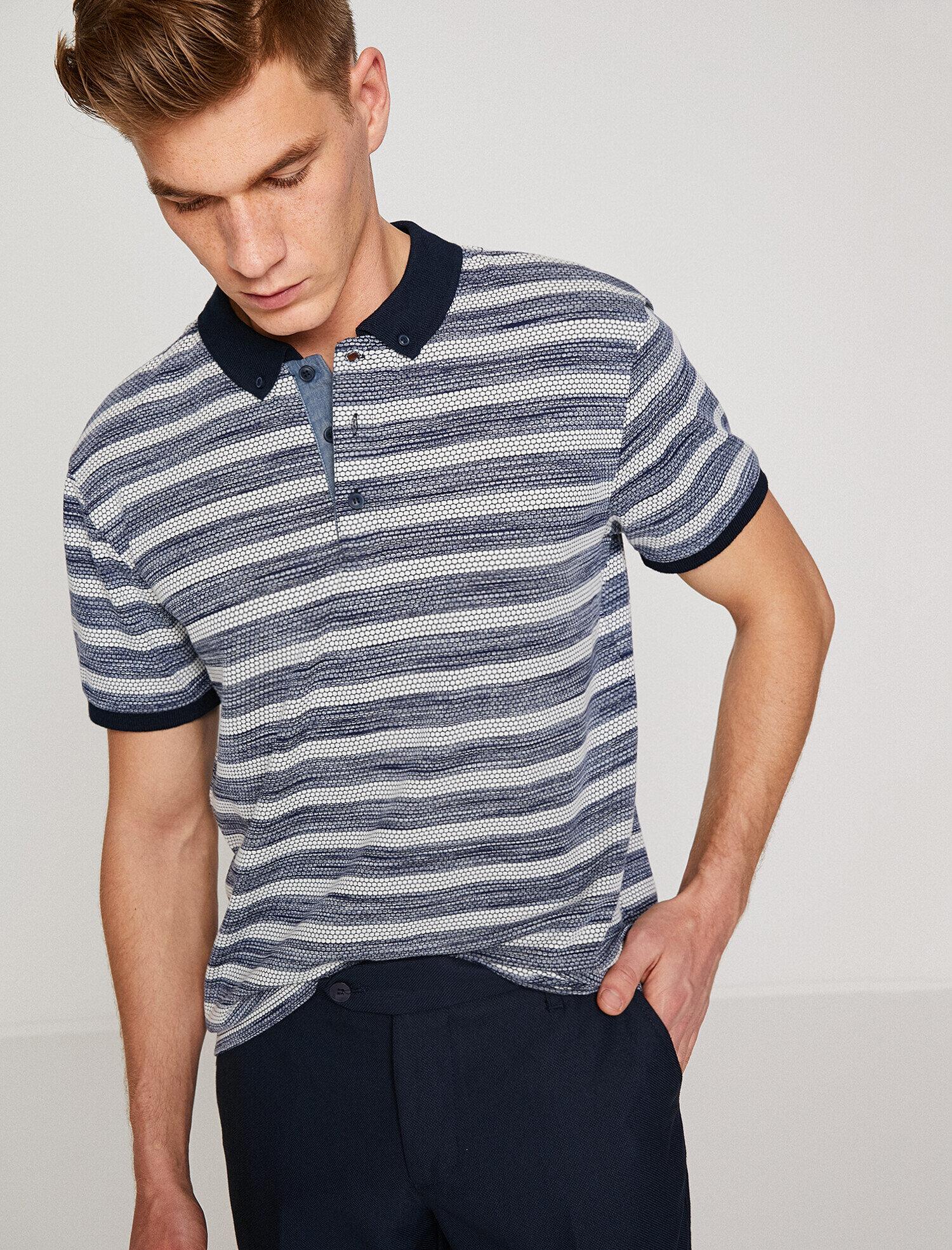 24e8b1b1311a Navy Striped Men Polo Neck T-Shirt 8YAM11548LK01M