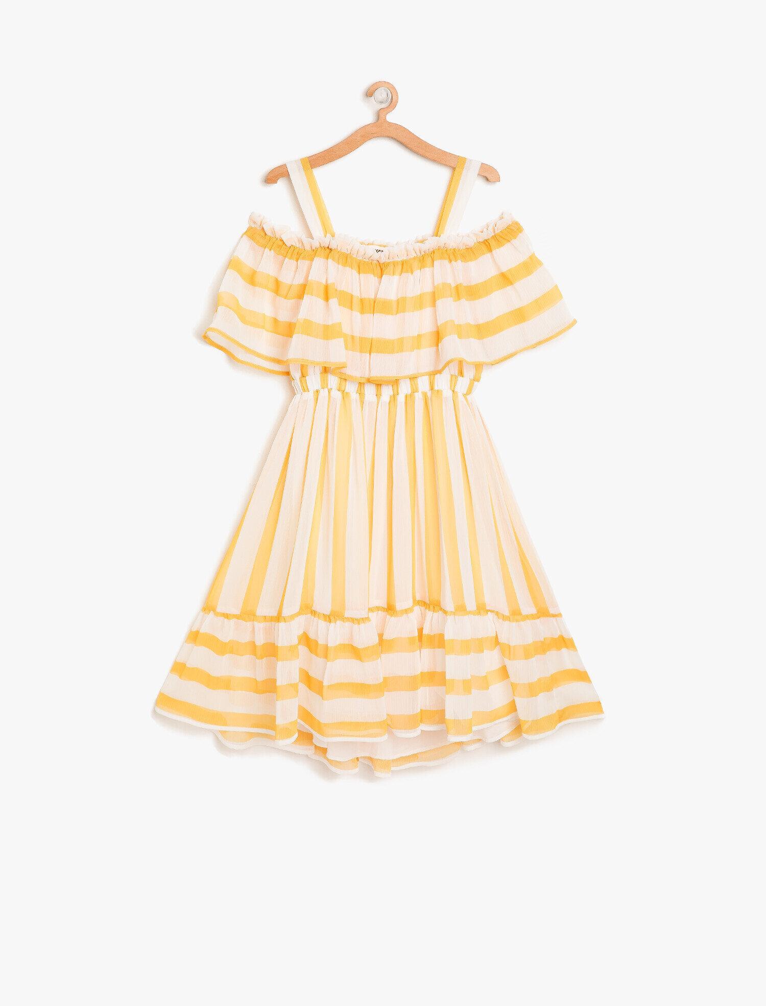 4f5fc18683763 Sarı Çizgili Kız Çocuk Çizgili Elbise 8YKG83326EWU88 | Koton
