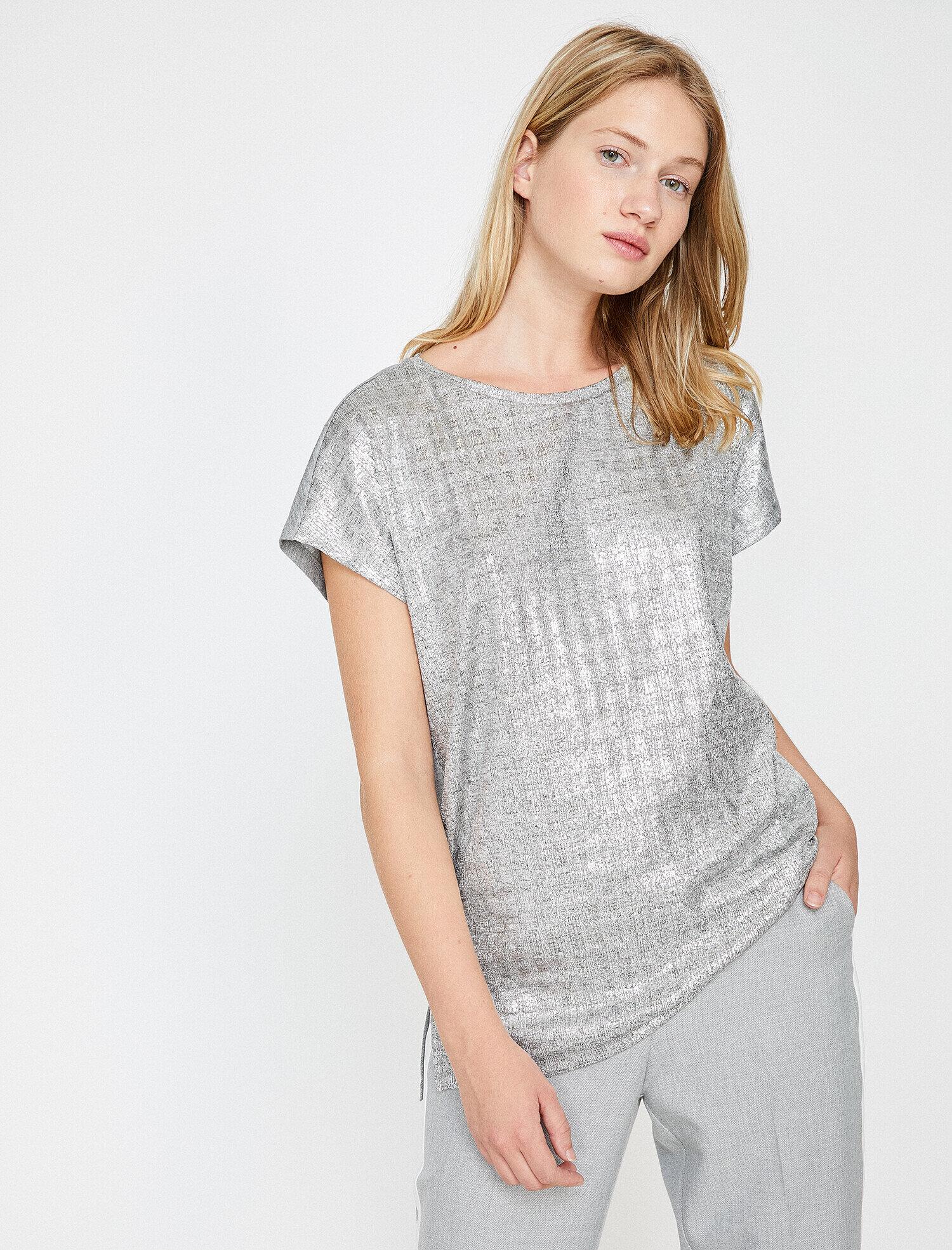 Gri Bayan Parlak T Shirt 9kak13024ek029 Koton