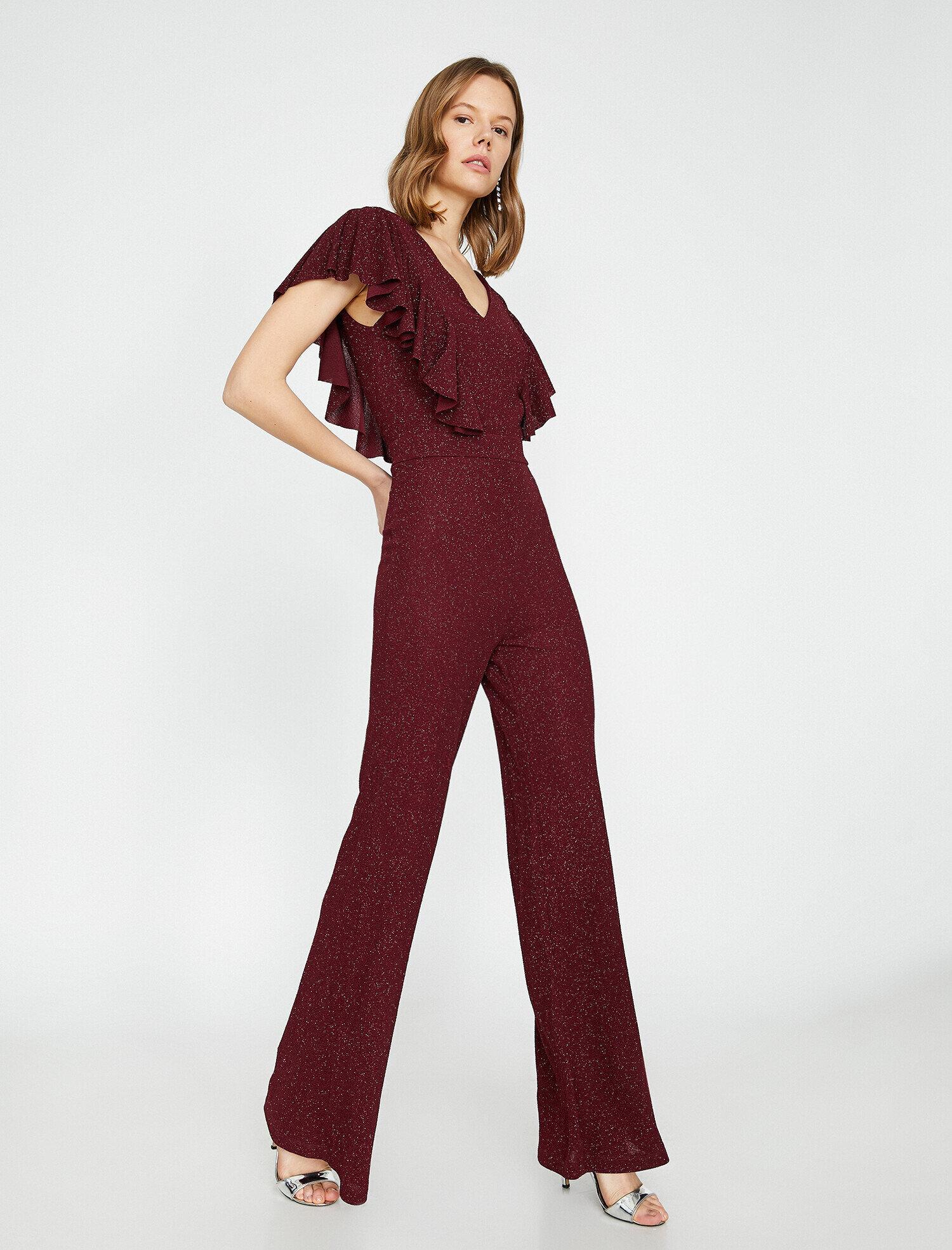 6236237a6f1fc Wine Women Shimmer Detailed Jumpsuit 9KAK44205FK470 | Koton