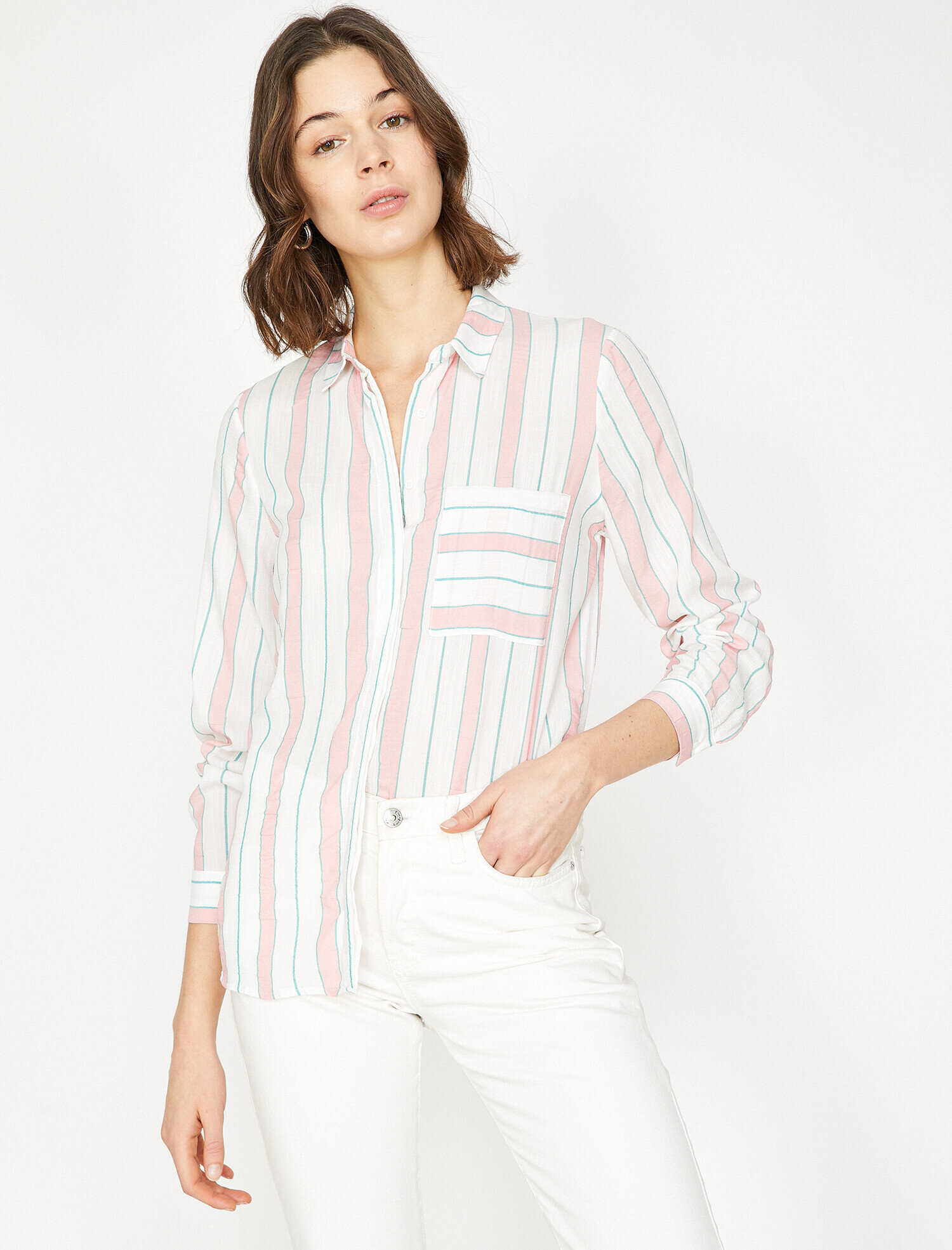 d41e524843f4c Ladies Pink And White Striped Shirt – EDGE Engineering and ...
