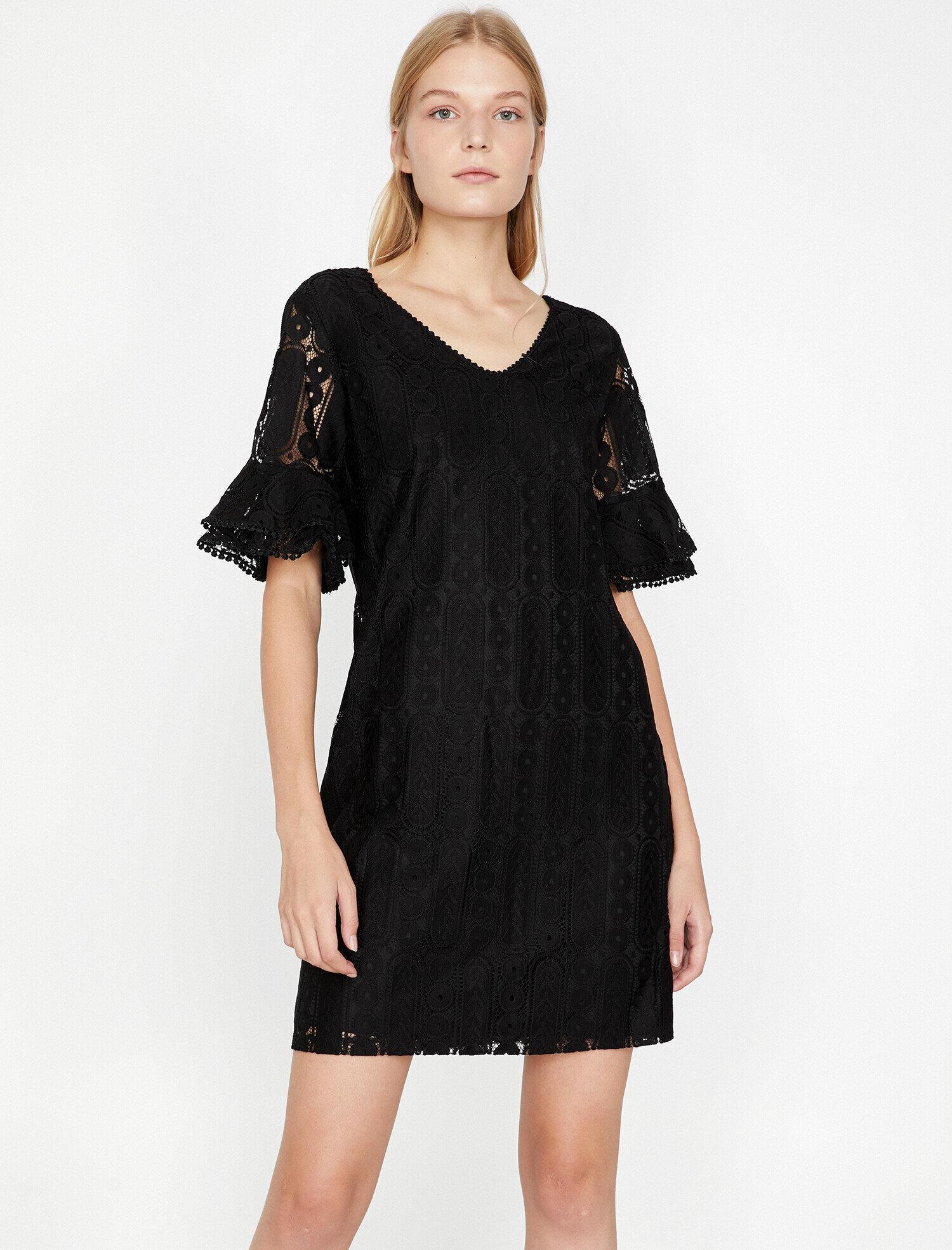 7c30becb7af6d Siyah Bayan Dantel Detaylı Elbise 9KAK83502EK999 | Koton