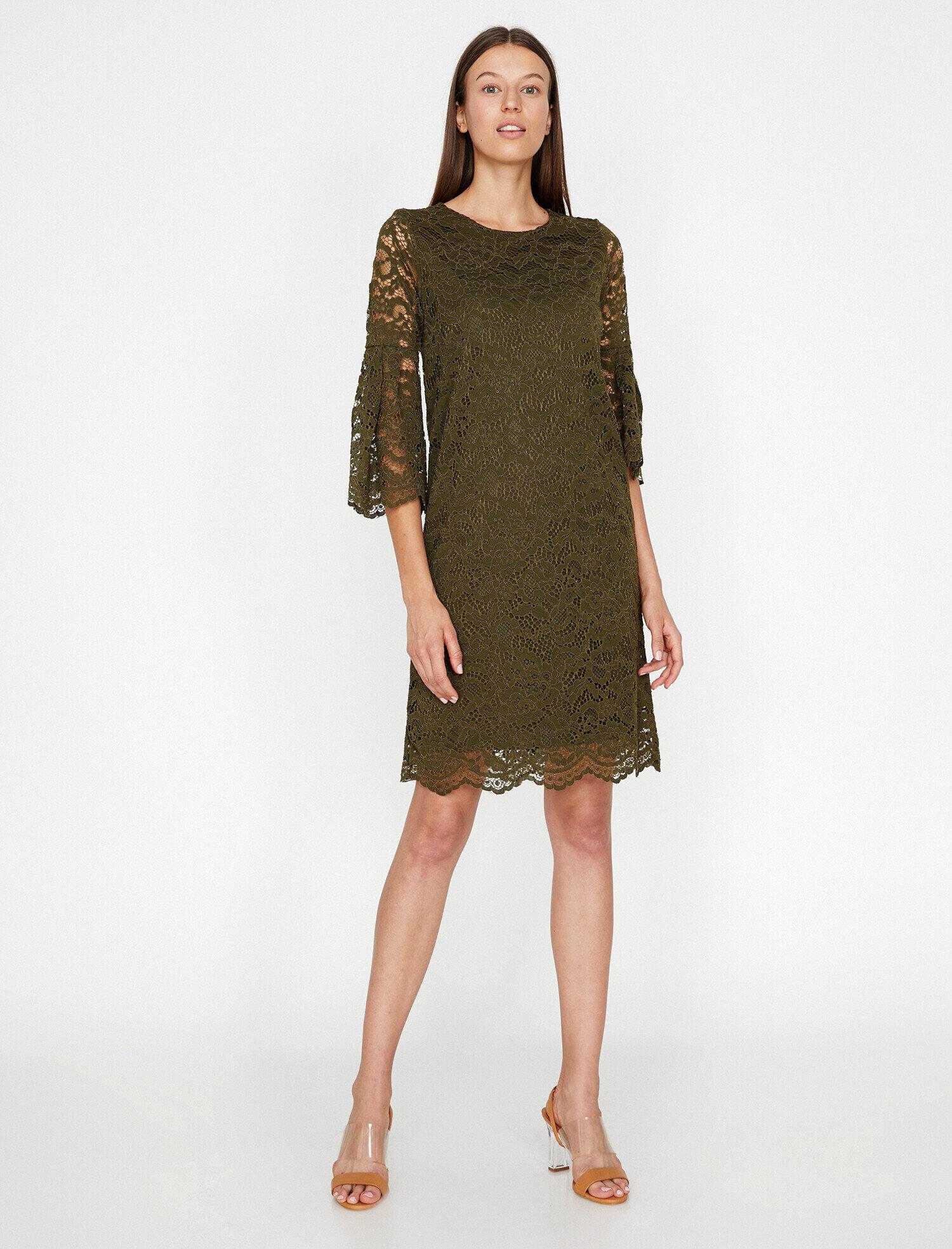 81ec6dd28804 Khaki Women Lace Detailed Dress 9KAK83546EK801