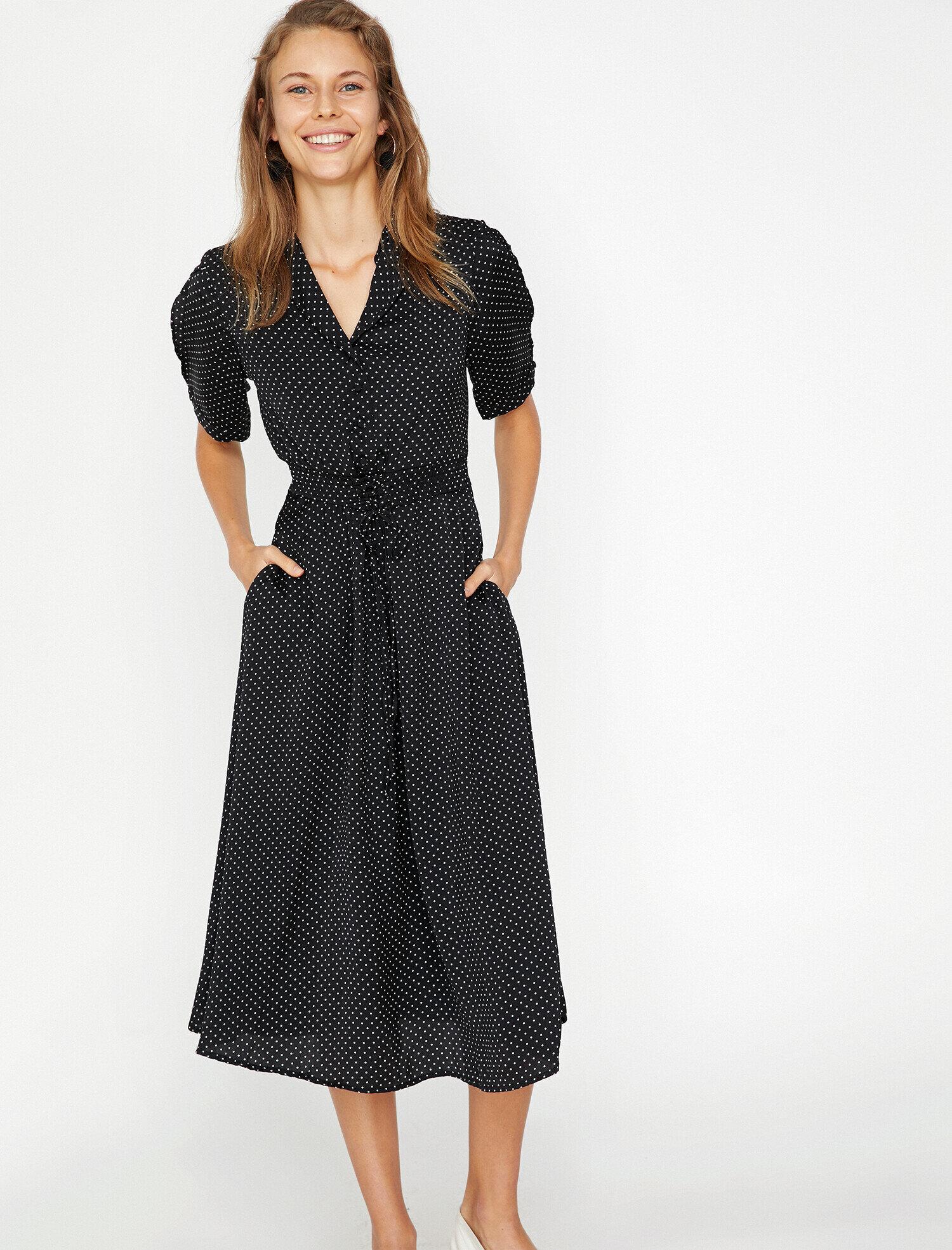 f0c5c1b78309b Siyah Bayan Puantiyeli Elbise 9KAK88633PW07D | Koton