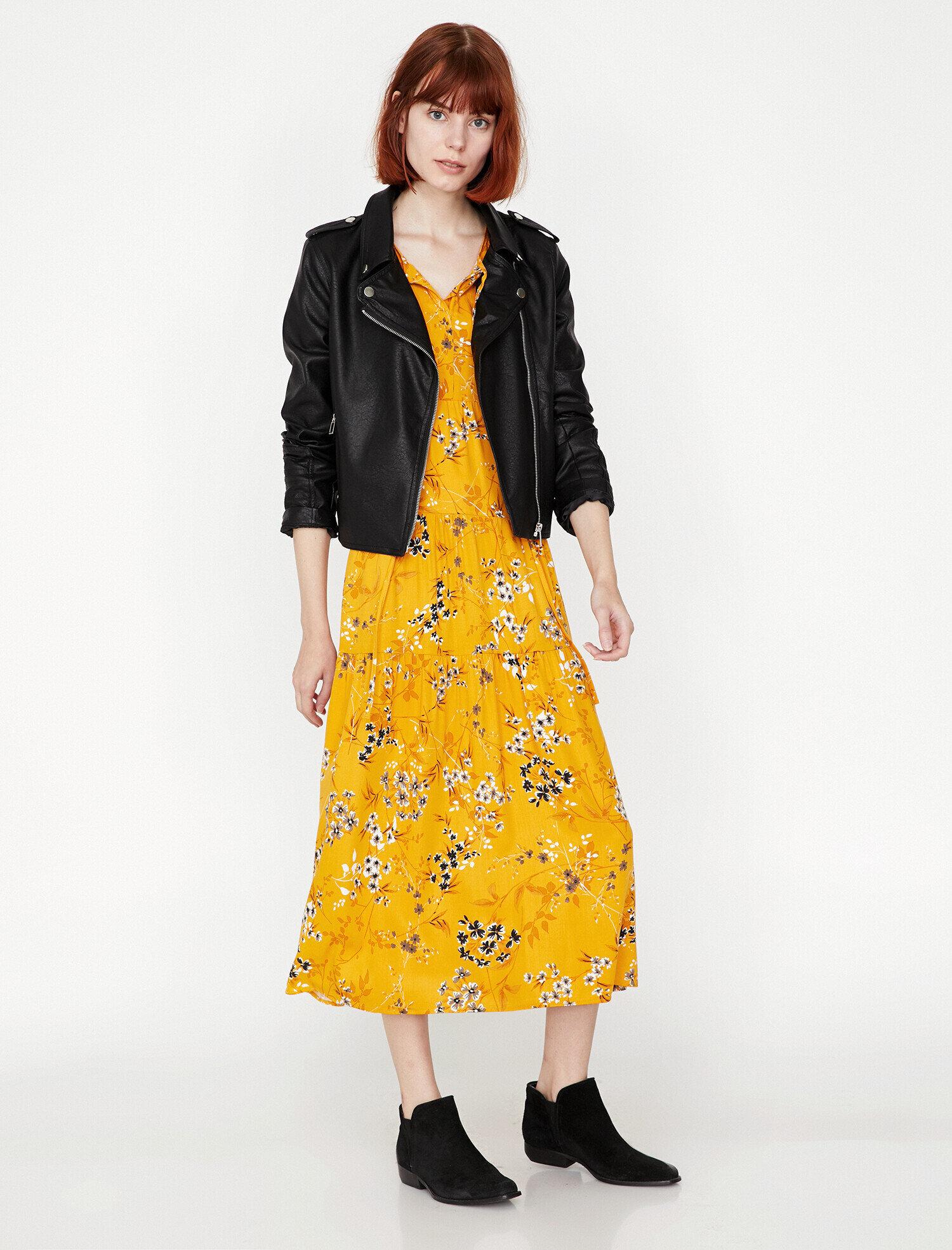 9fbe33fba5c6c Sarı Bayan Çiçek Desenli Elbise 9KAL89309IW01I | Koton