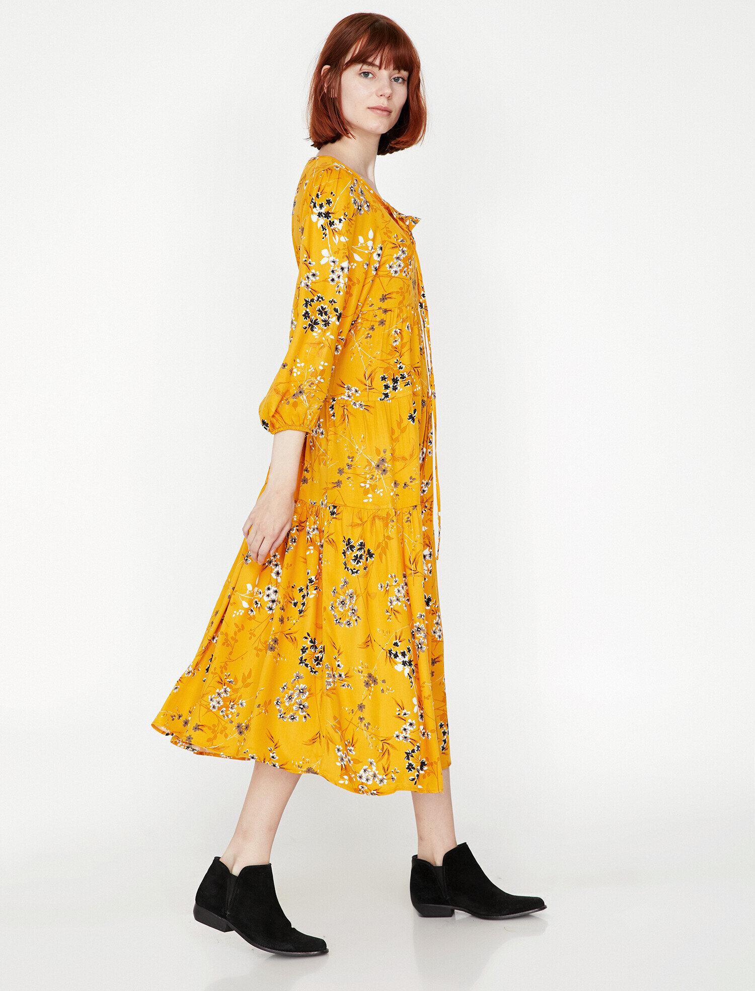 a28267a8d8659 Modalite - Koton Çiçek Desenli Elbise Sarı