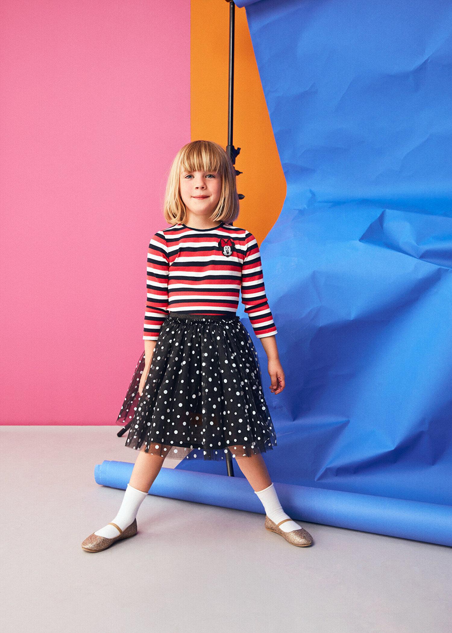 0f7168747db46 Kırmızı Çizgili Kız Çocuk Minnie By Koton T-Shirt 9KKG17121AK03M   Koton