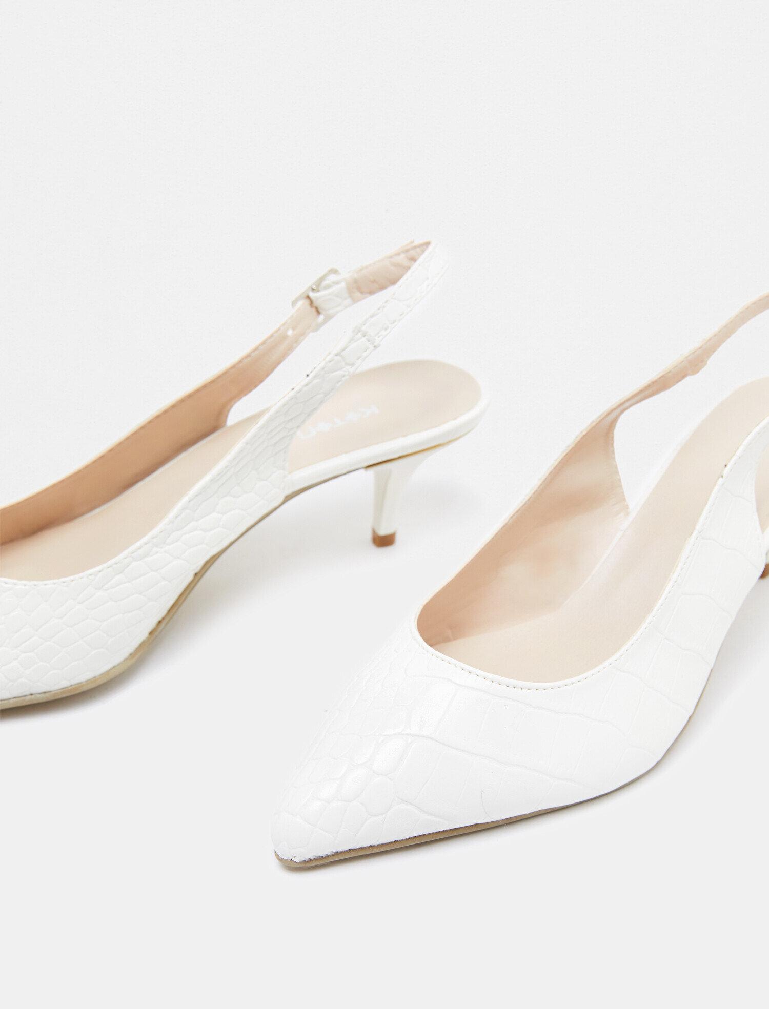 12f1cd1069a4b Modalite - Koton Topuklu Ayakkabı Beyaz