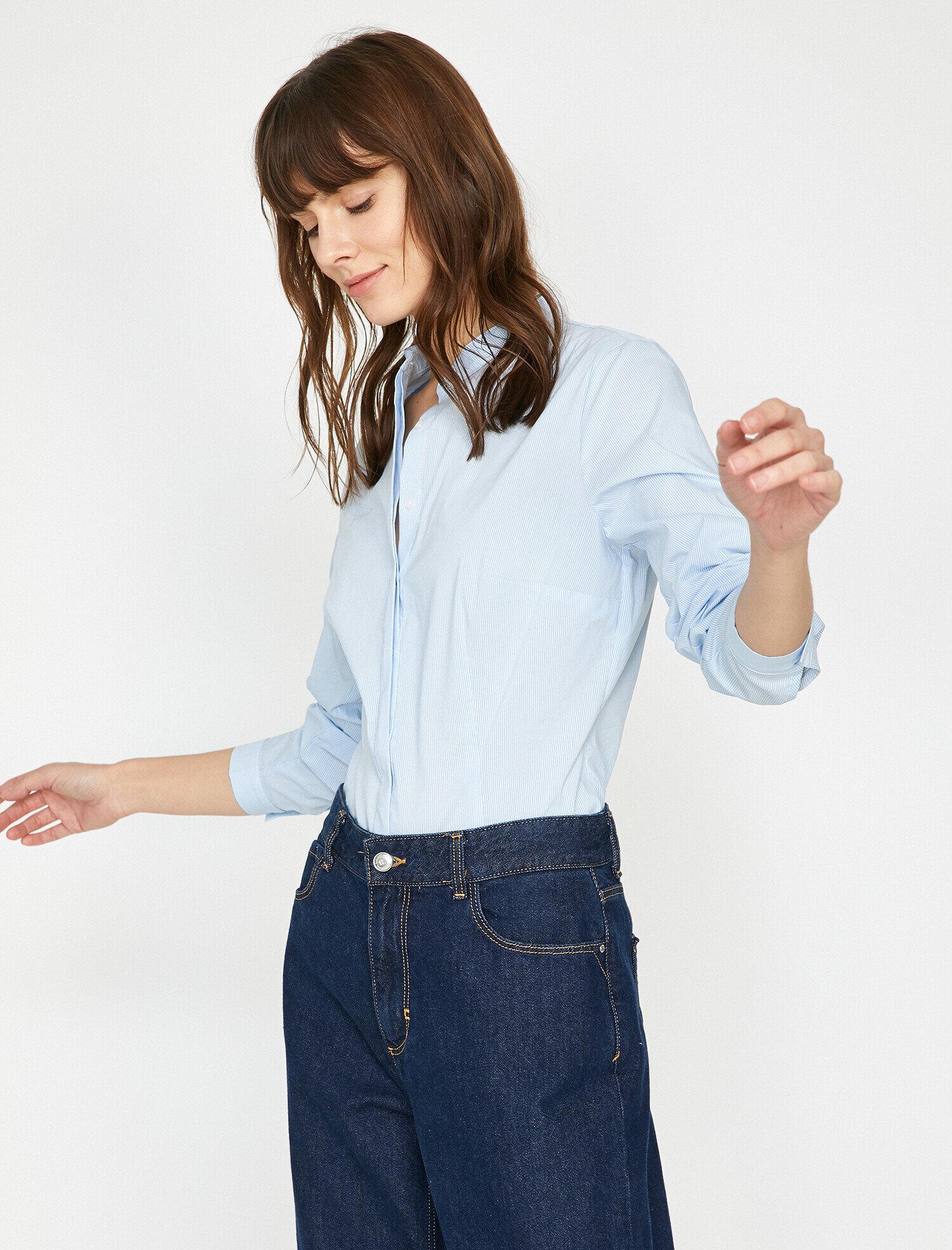 bdd28eca1f Blue Striped Women Mandarin Collar Shirt 9YAK66570IW03N | Koton