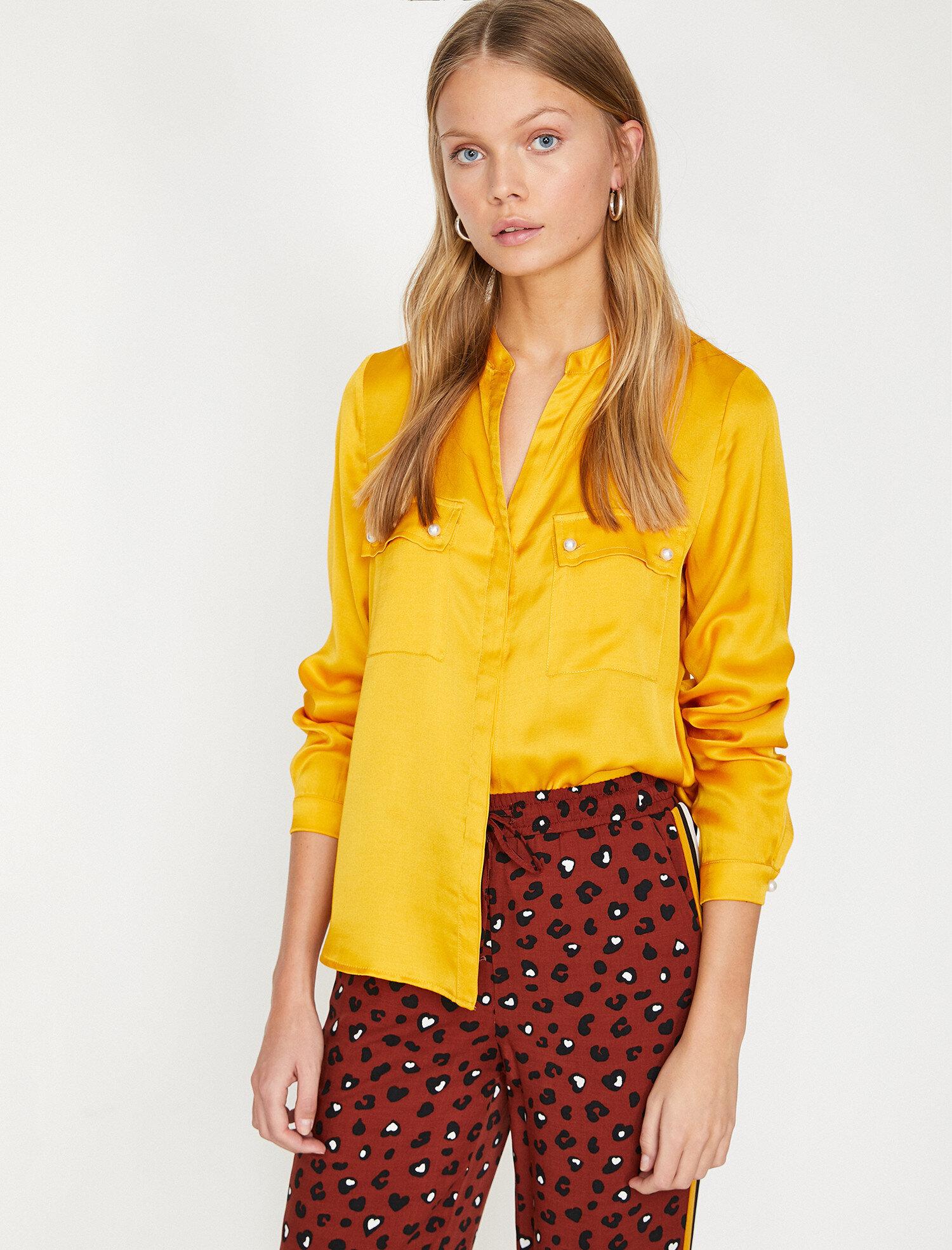 15317dff30f14 Mustard Women Pocket Detailed Shirt 9YAK68644PW159