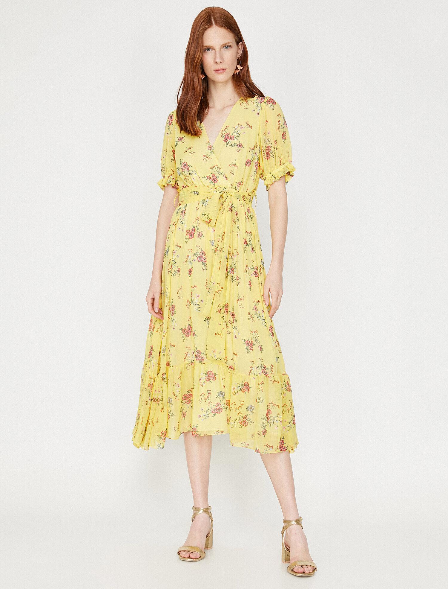 9c49267ddcc09 Sarı Bayan The Floral Dress - Çiçek Desenli Elbise 9YAK83281EW50A ...