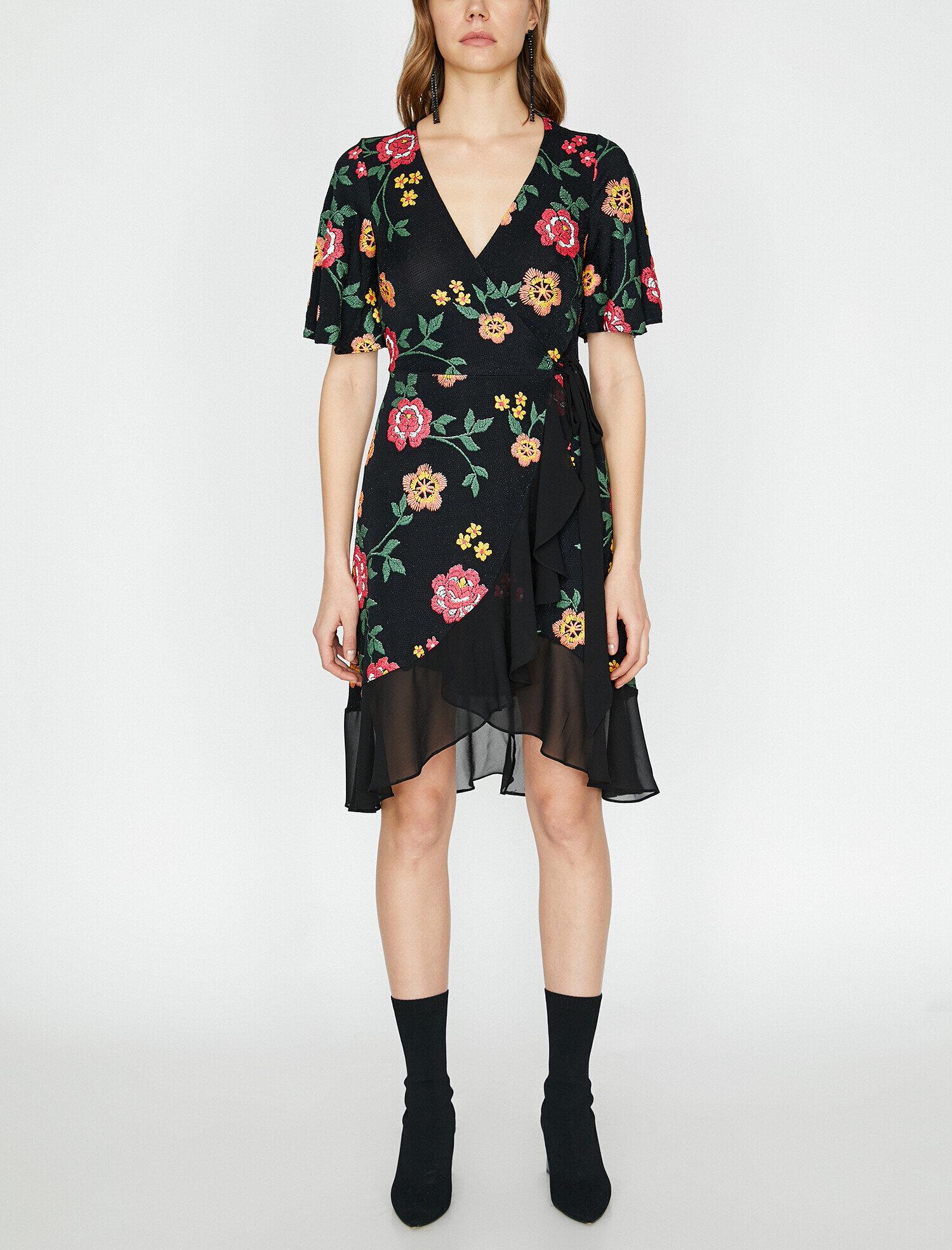 Koton İşlemeli Siyah Mini Elbise