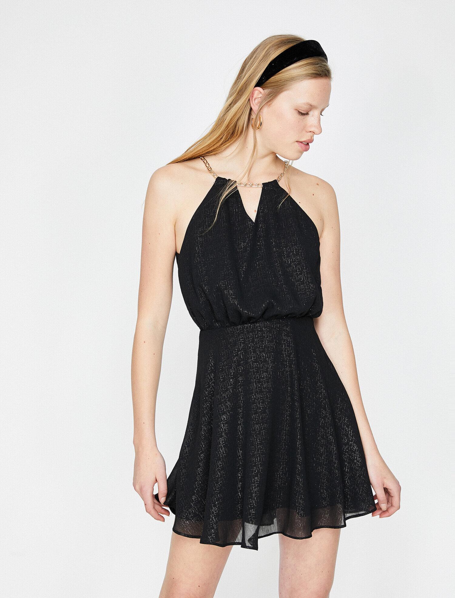 20e8d6cc62852 Siyah Bayan Yaka Detaylı Elbise 9YAK84644FW999 | Koton