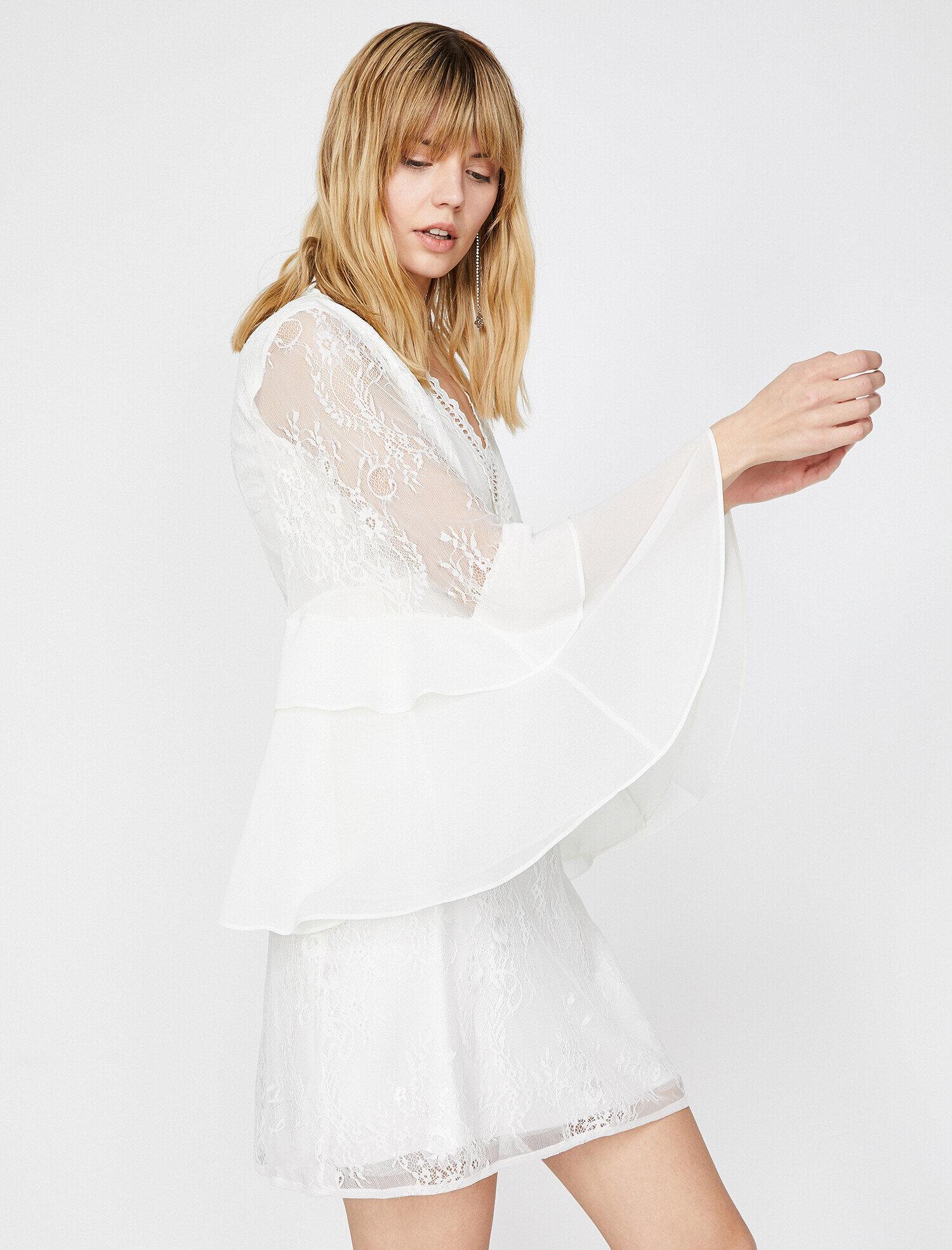 188dd1db0ed11 Beyaz Bayan Dantel Detaylı Elbise 9YAK84668FK000 | Koton