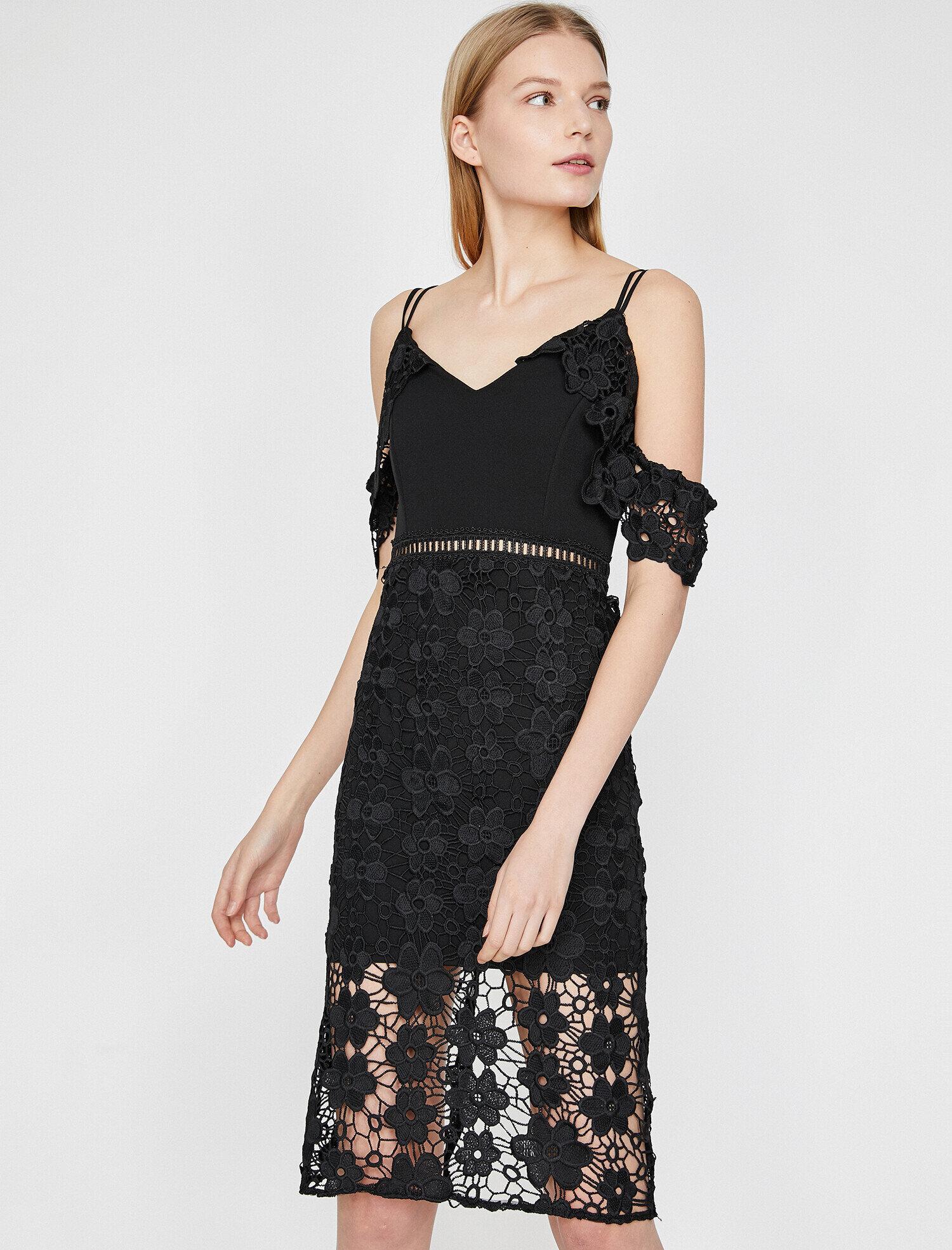 2e25814cef18f Siyah Bayan Dantel Detaylı Elbise 9YAK84692FK999 | Koton