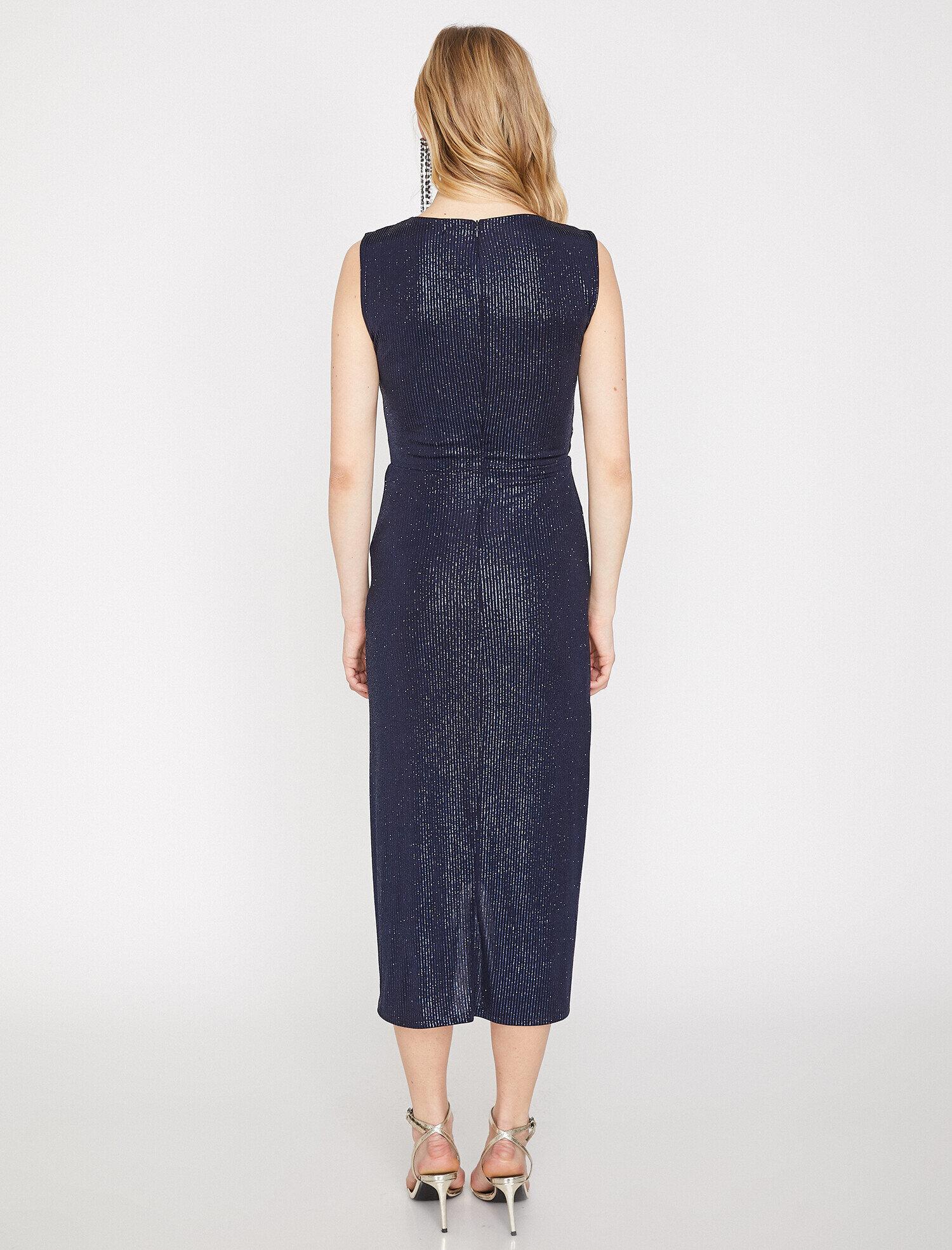 Koton Sim Detaylı Lacivert Mavi Midi Abiye Elbise