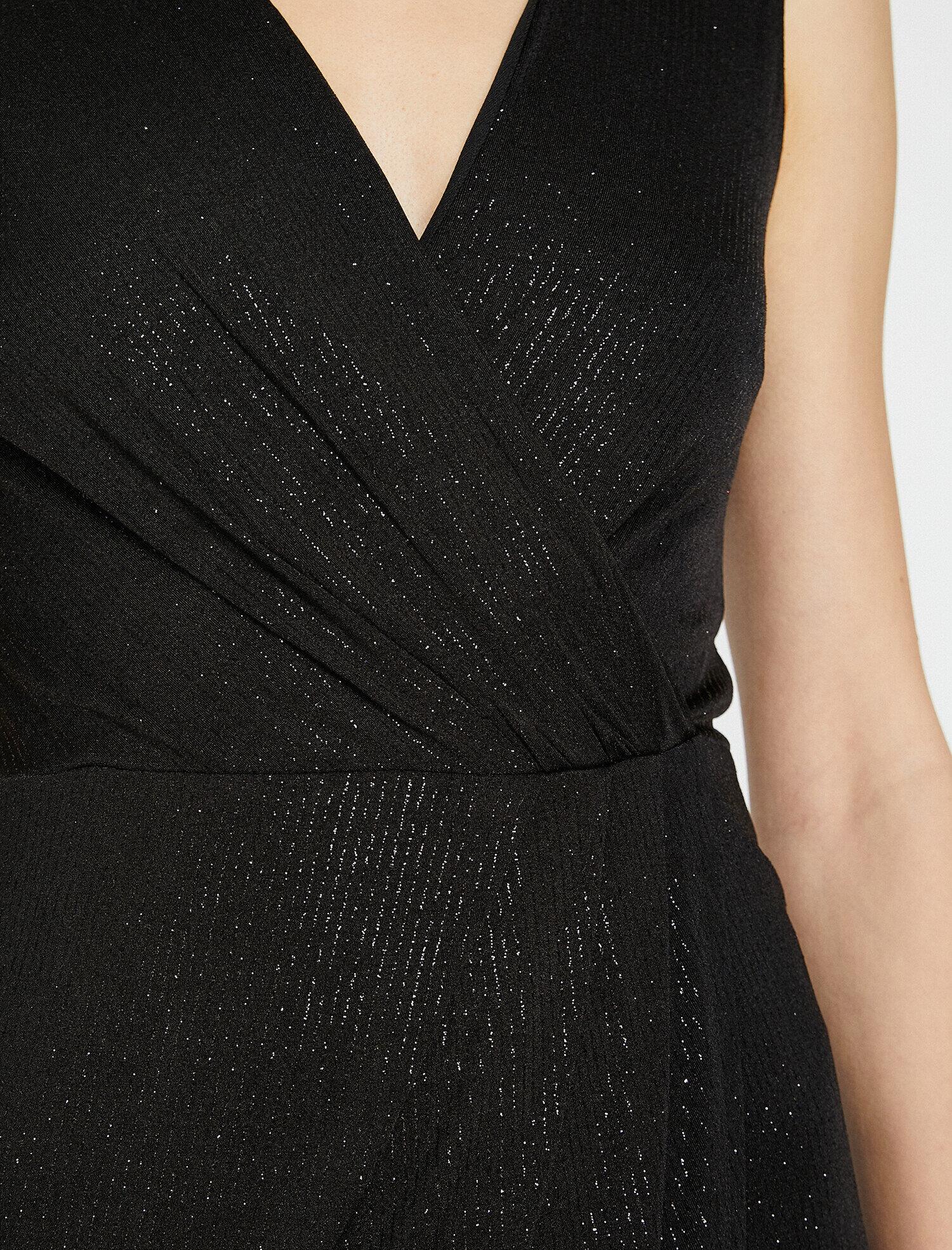 Koton Sim Detaylı Siyah Midi Abiye Elbise