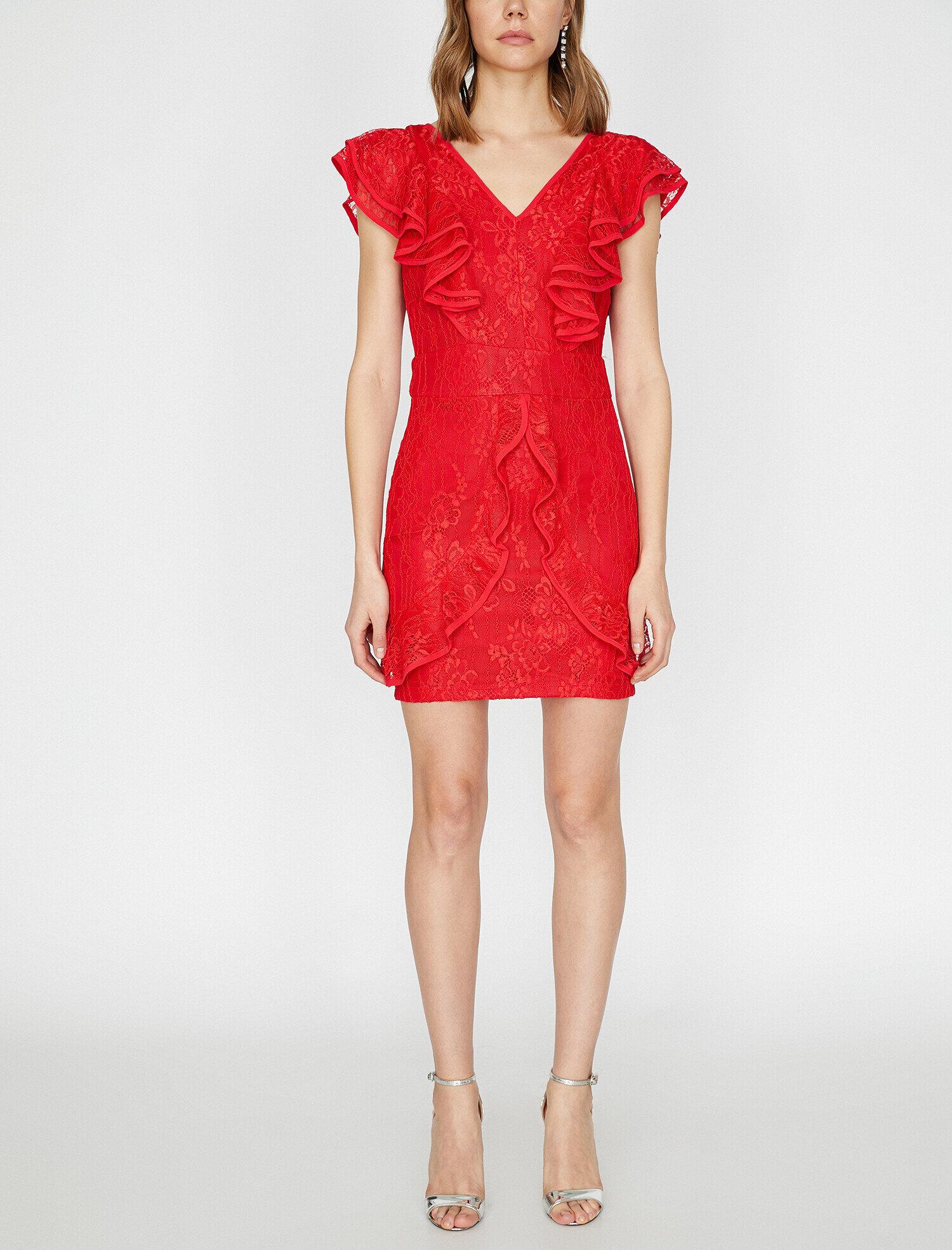Koton Dantel Detaylı Kırmızı Mini Abiye Elbise