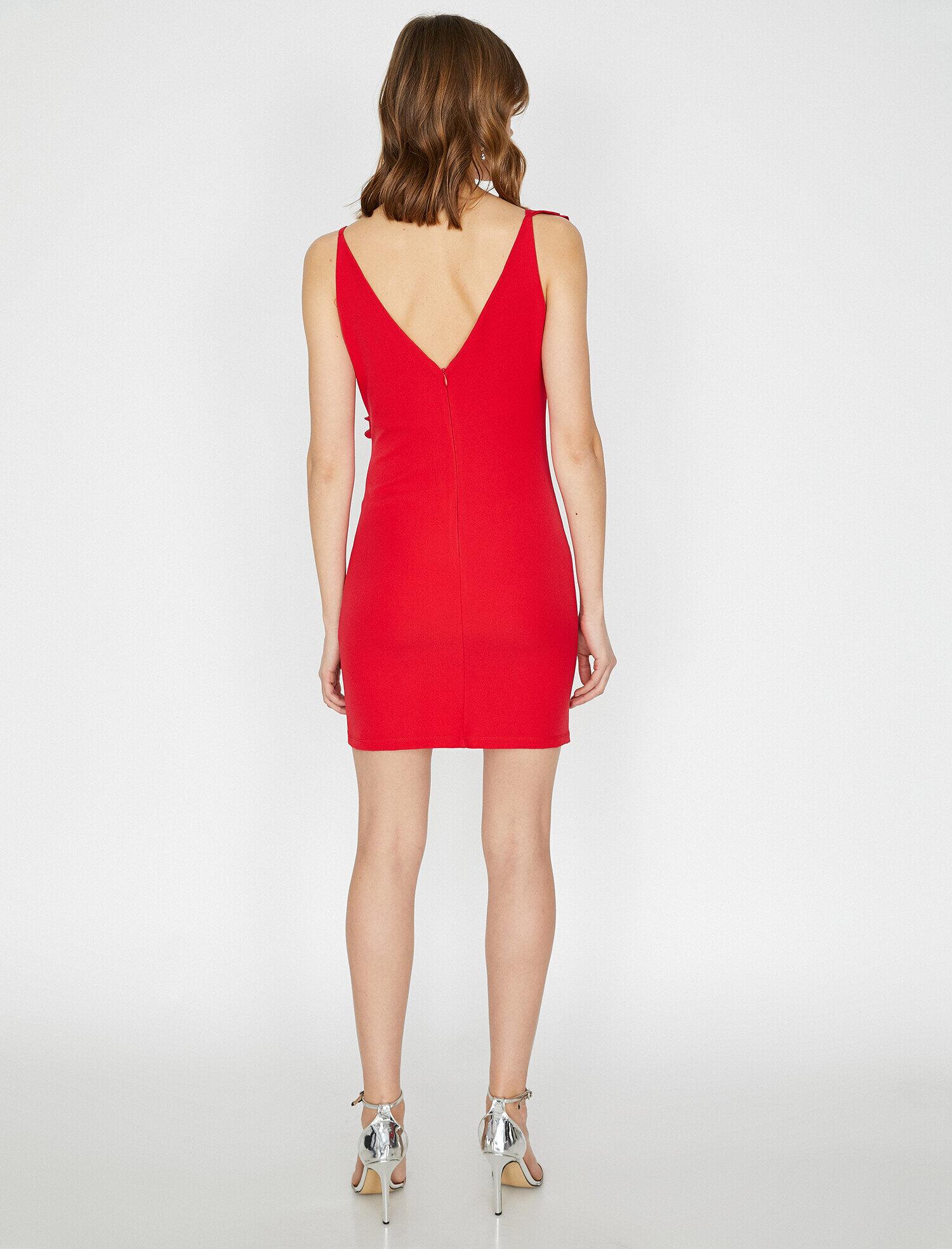 Koton Fırfır Detaylı Kırmızı Mini Abiye Elbise