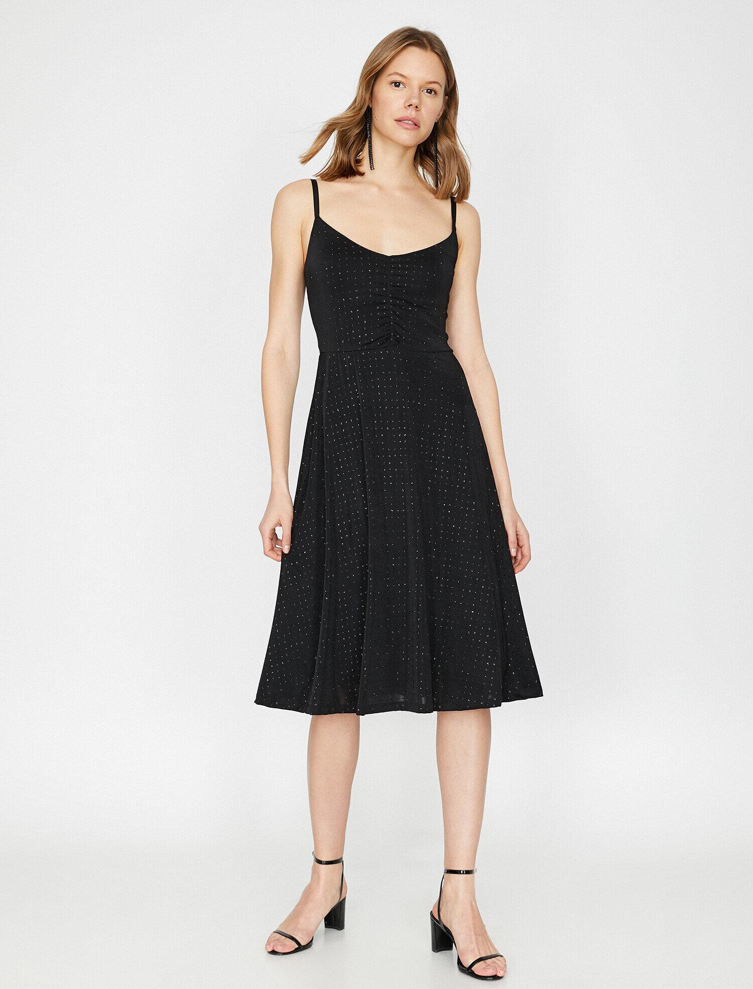 c9f52fa50bfa3 Siyah Bayan Desenli Elbise 9YAK84973FK999   Koton