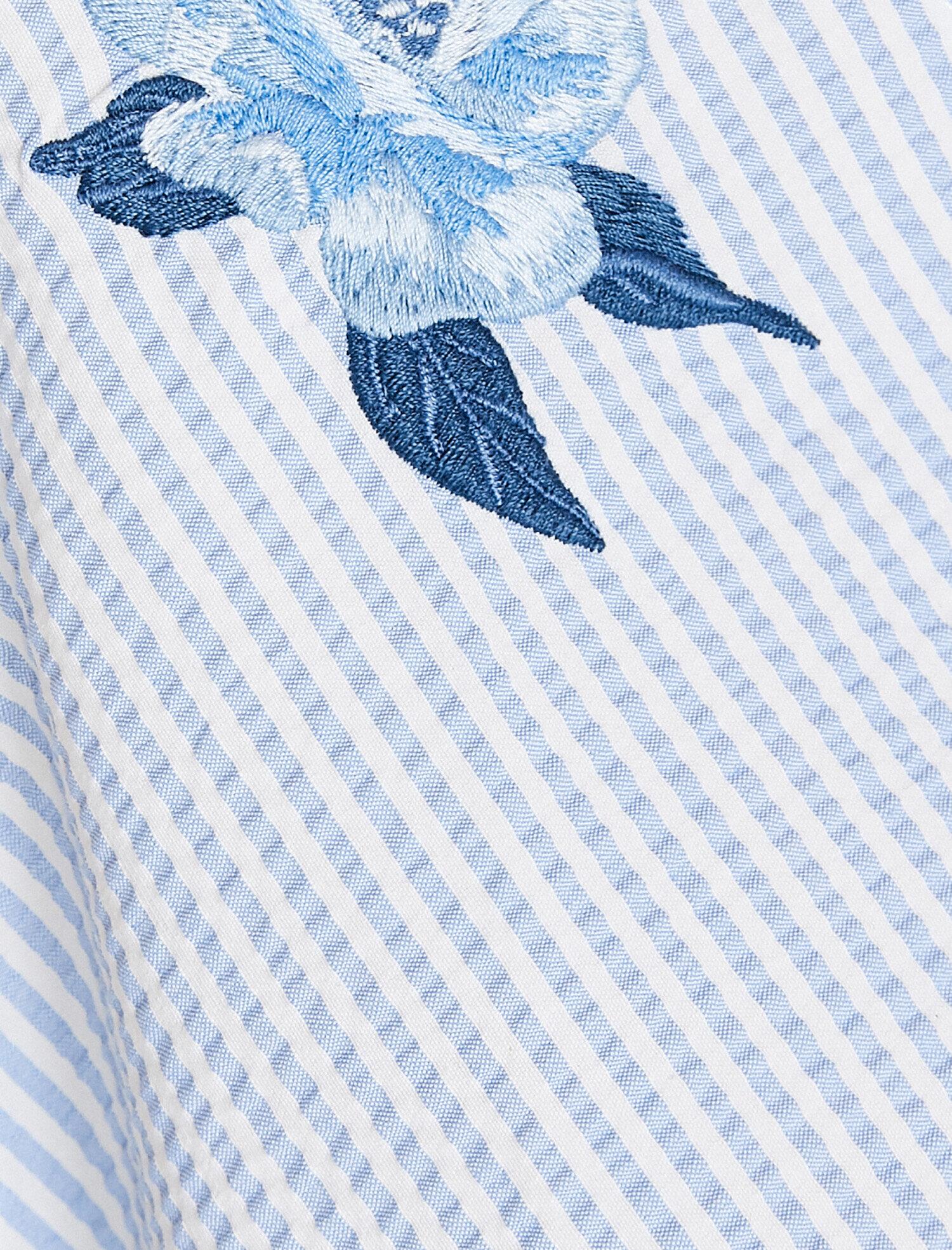 Koton Çizgili Mavi Midi Elbise