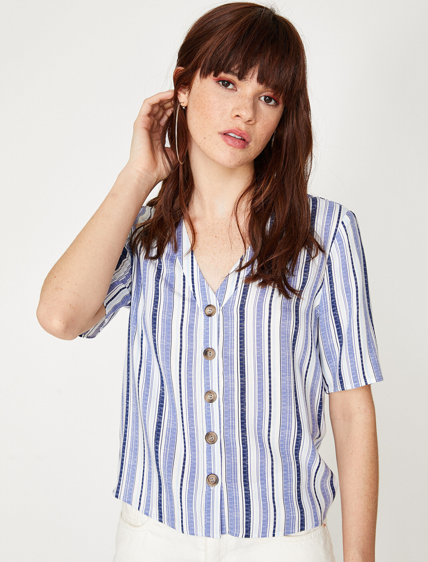 77b8f46c Blue Striped Women Button Detailed Blouse 9YAL68161IW01K | Koton