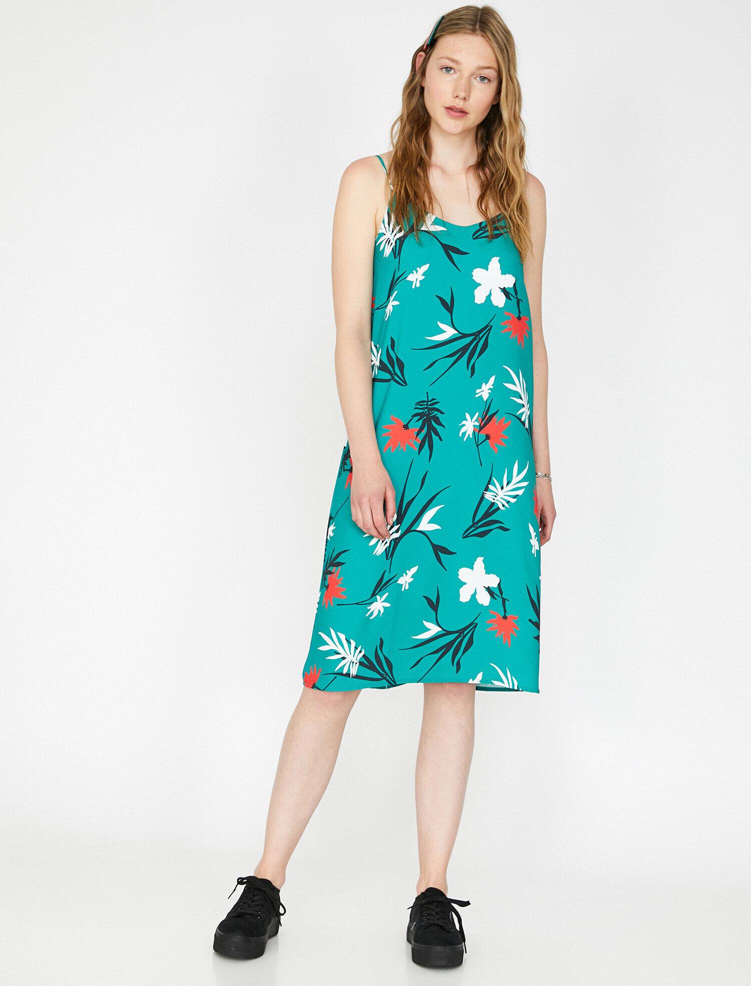 15f63db415618 Modalite - Koton Desenli Elbise Yeşil