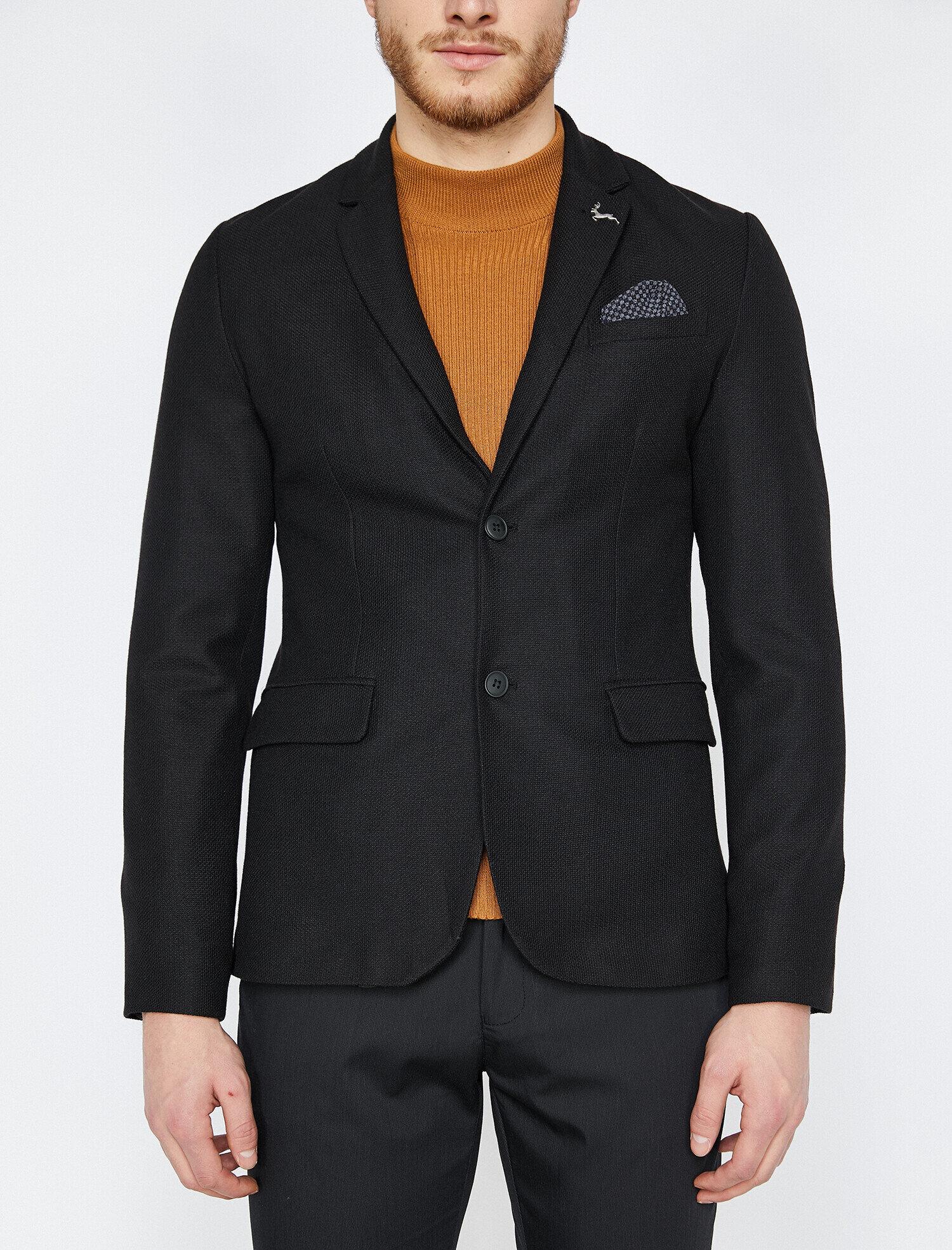 75128f117f5b0 Modalite - Koton Düğme Detaylı Ceket Siyah