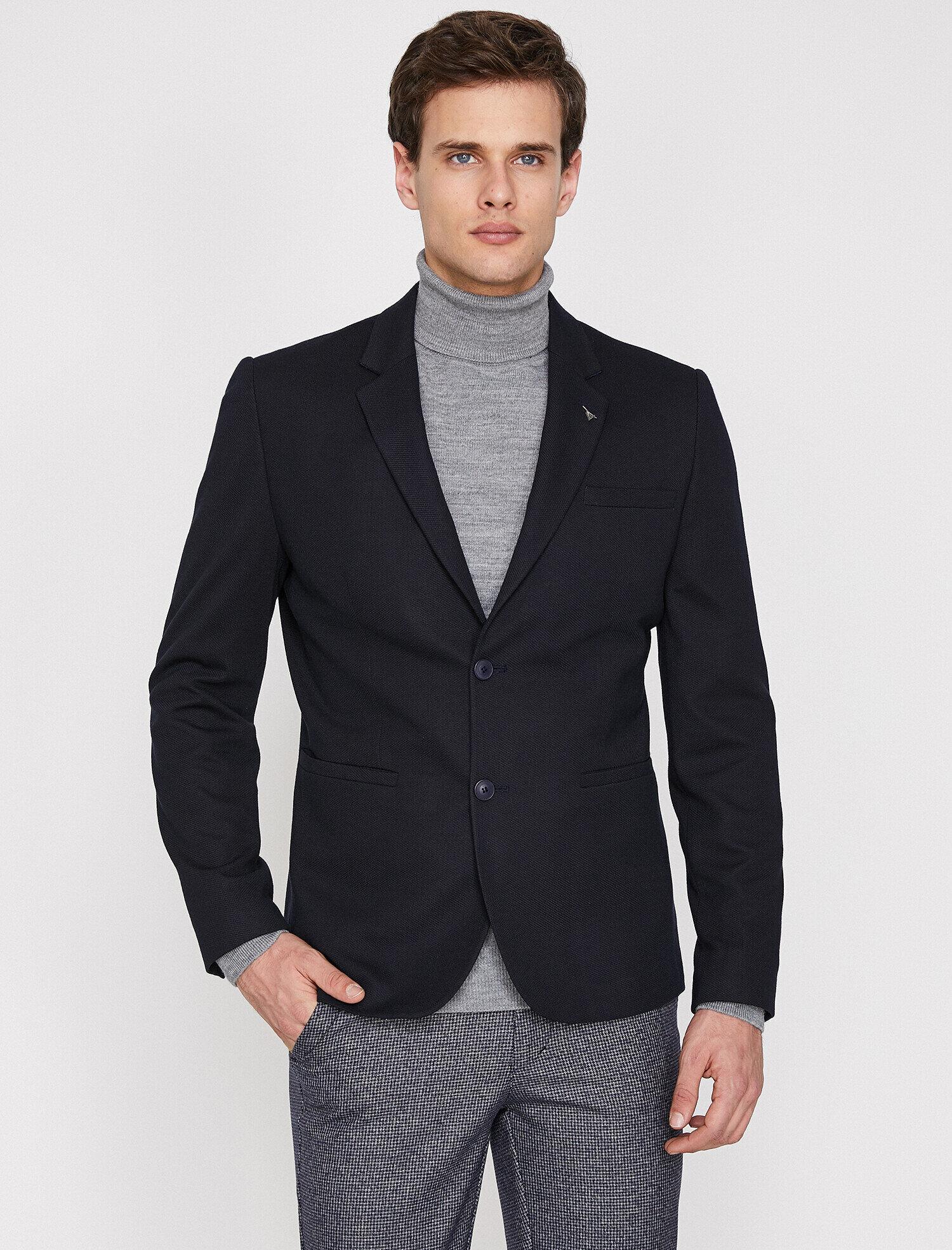 d9ae2450b37e1 Siyah Erkek Cep Detaylı Blazer Ceket 9YAM59218NK999 | Koton