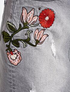 Embellished Jean Skirt