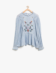 Frill Detailed Embellished Blouse