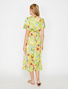 a45d8f33b4422 Sarı Bayan Çiçek Desenli Elbise 8YAK83466EWB16 | Koton