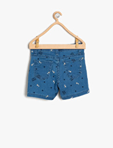 Letter Printed Jean Shorts