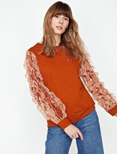 Dantel Detaylı Sweatshirt